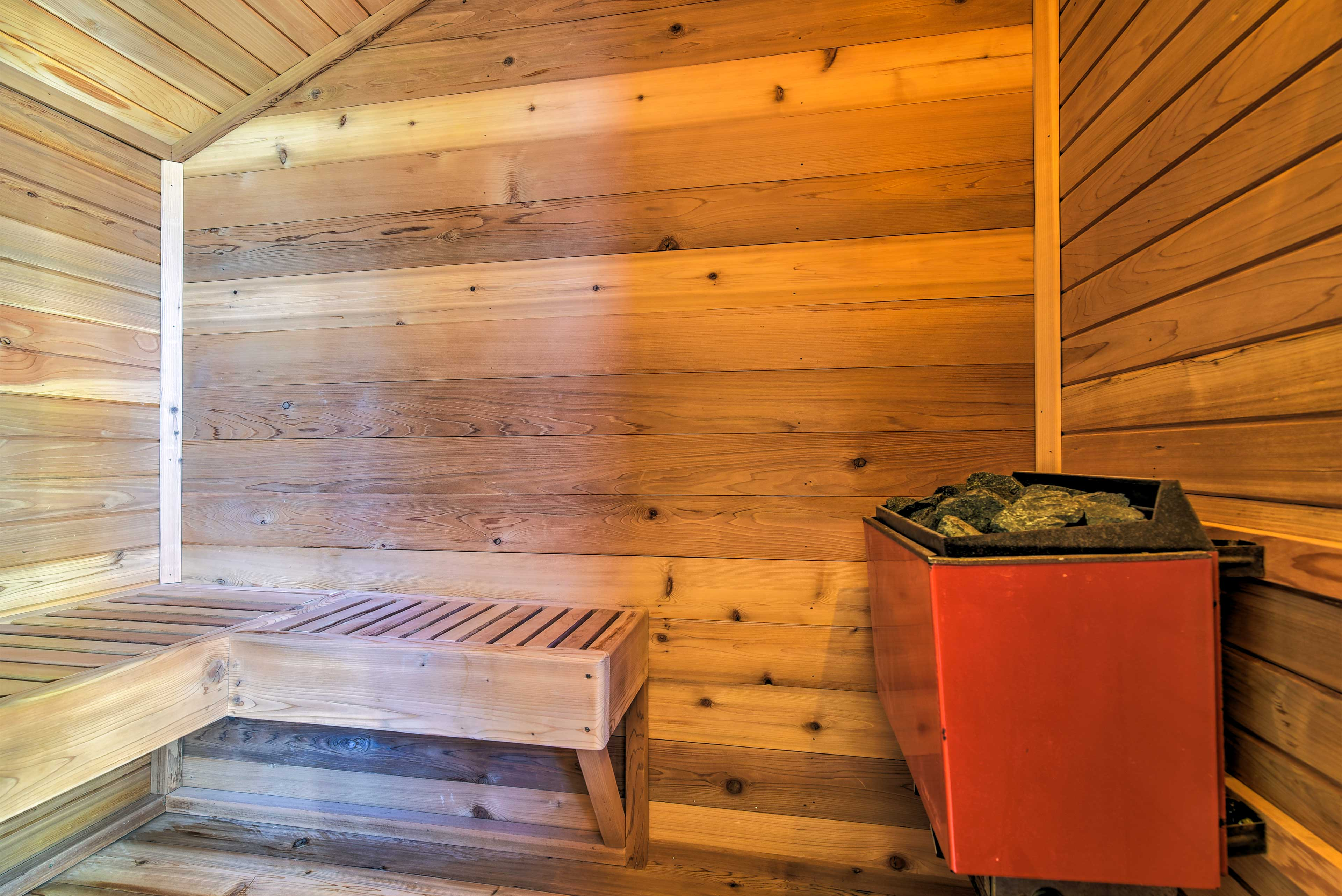 Use the private sauna to unwind after a day on the slopes.