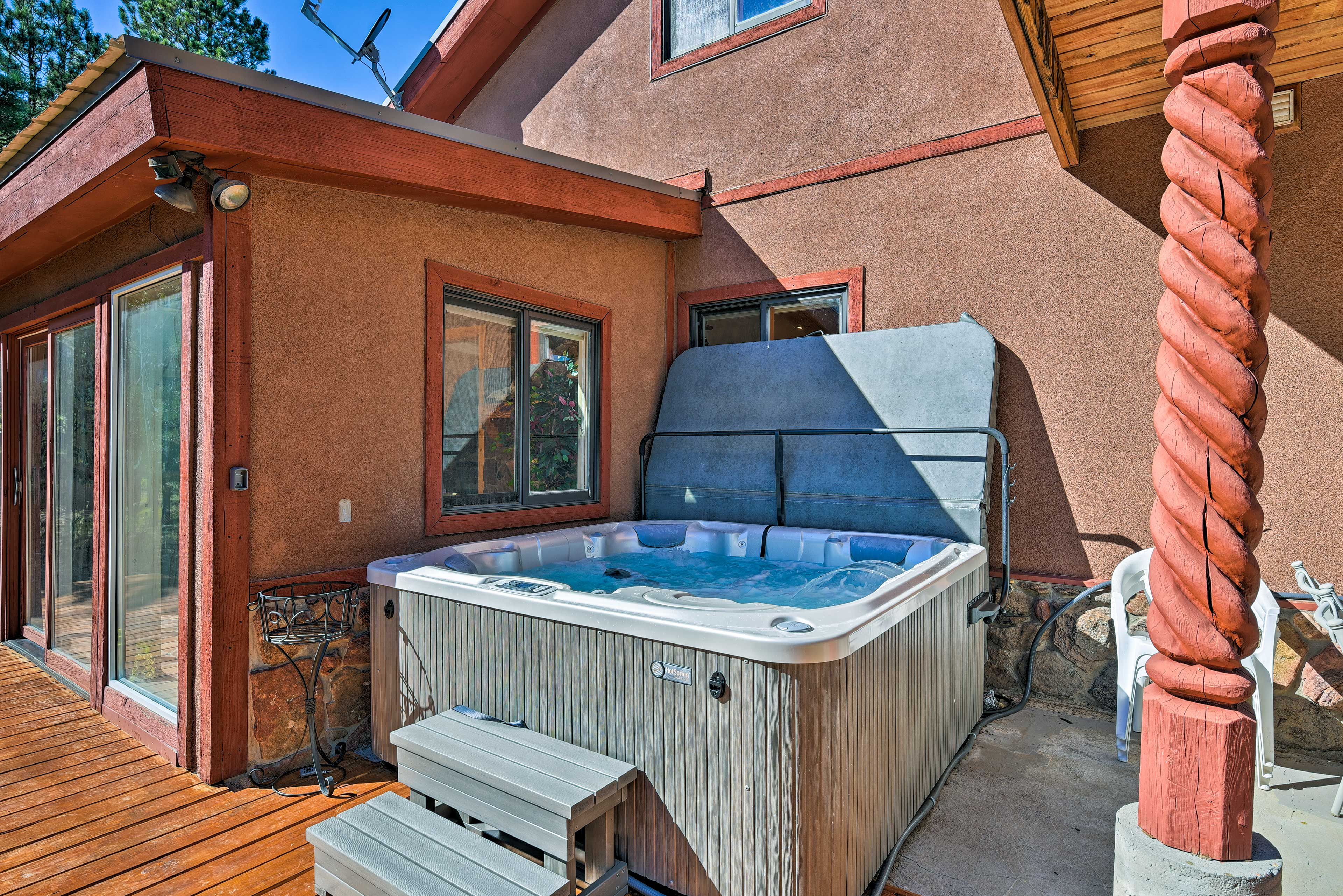 Unwind in the 6-person hot tub.
