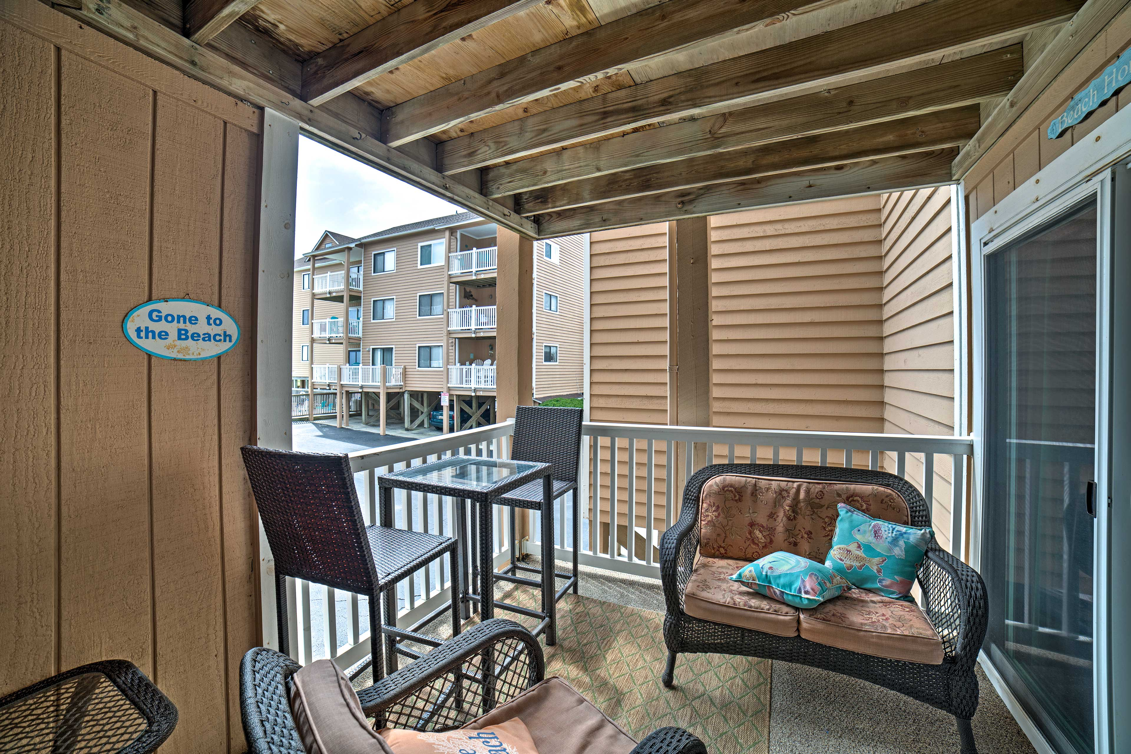Soak in your peaceful oceanfront location from the private balcony.