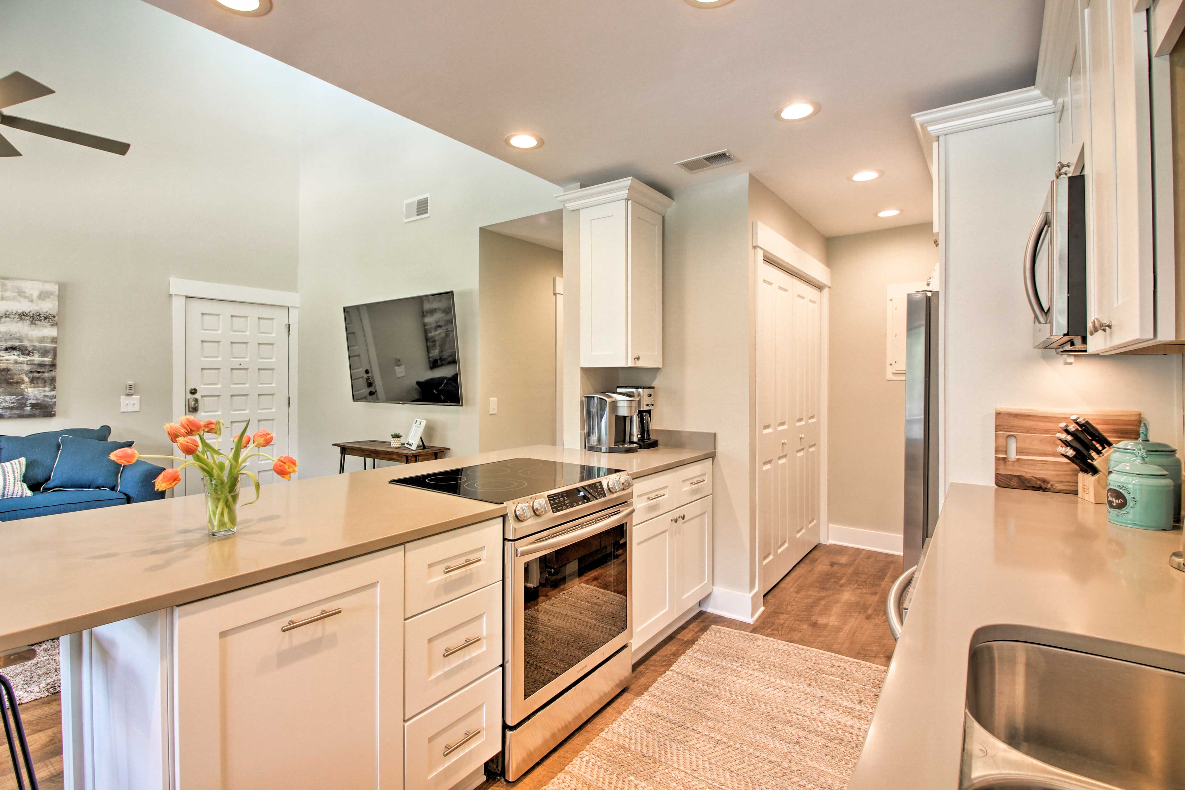 The kitchen is fully equipped to handle all of your cooking needs.