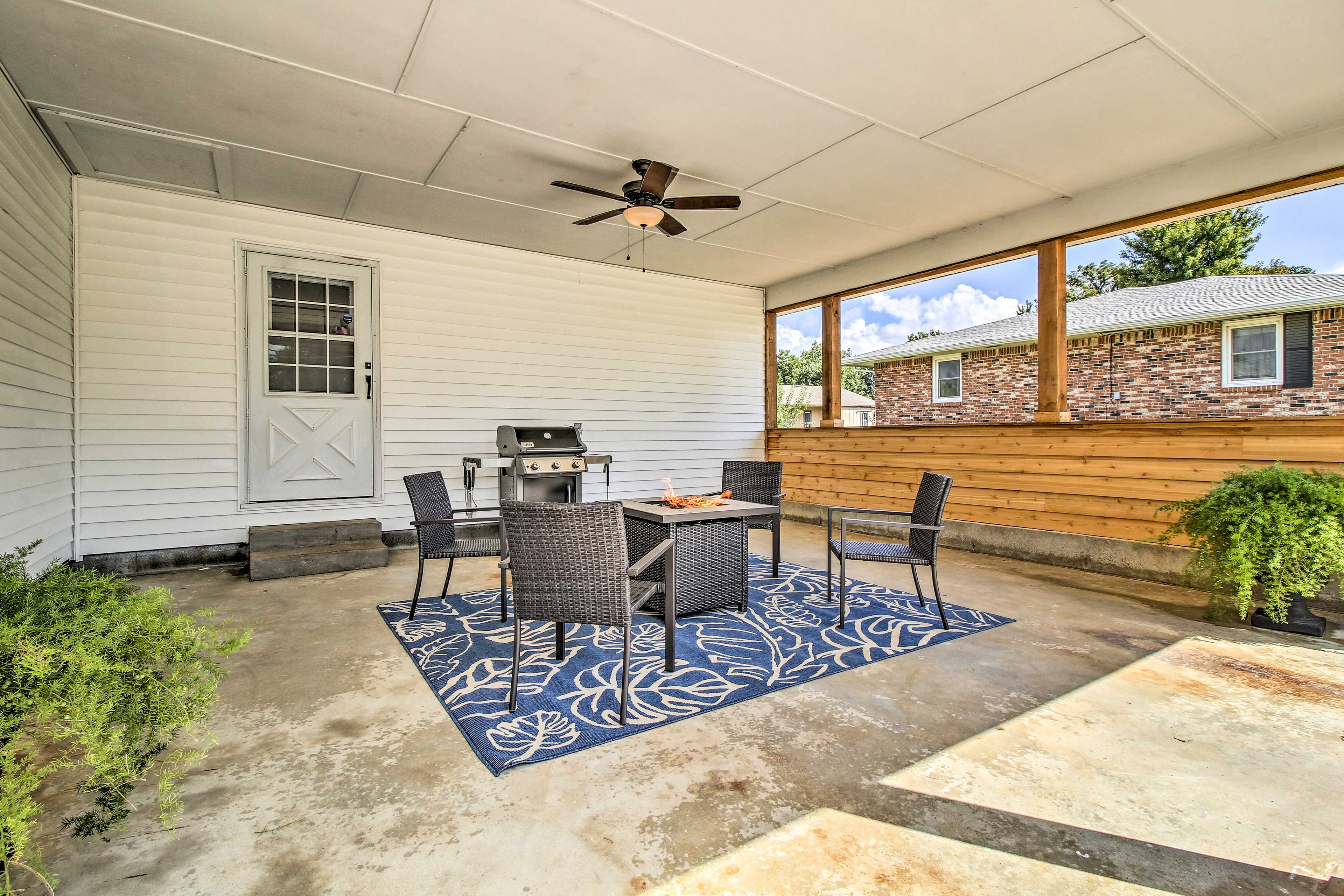Your group will spend most of their time on the patio.