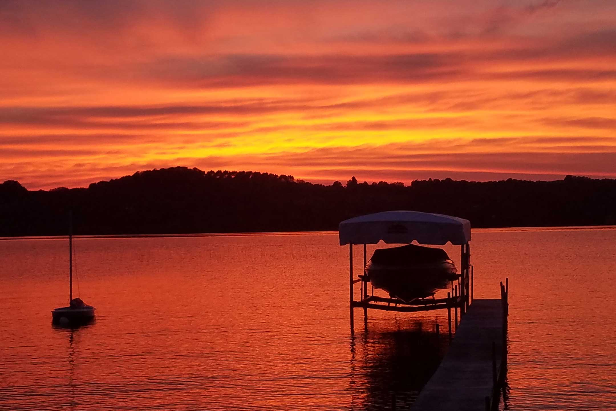 Look forward to captivating sunsets over the lake.