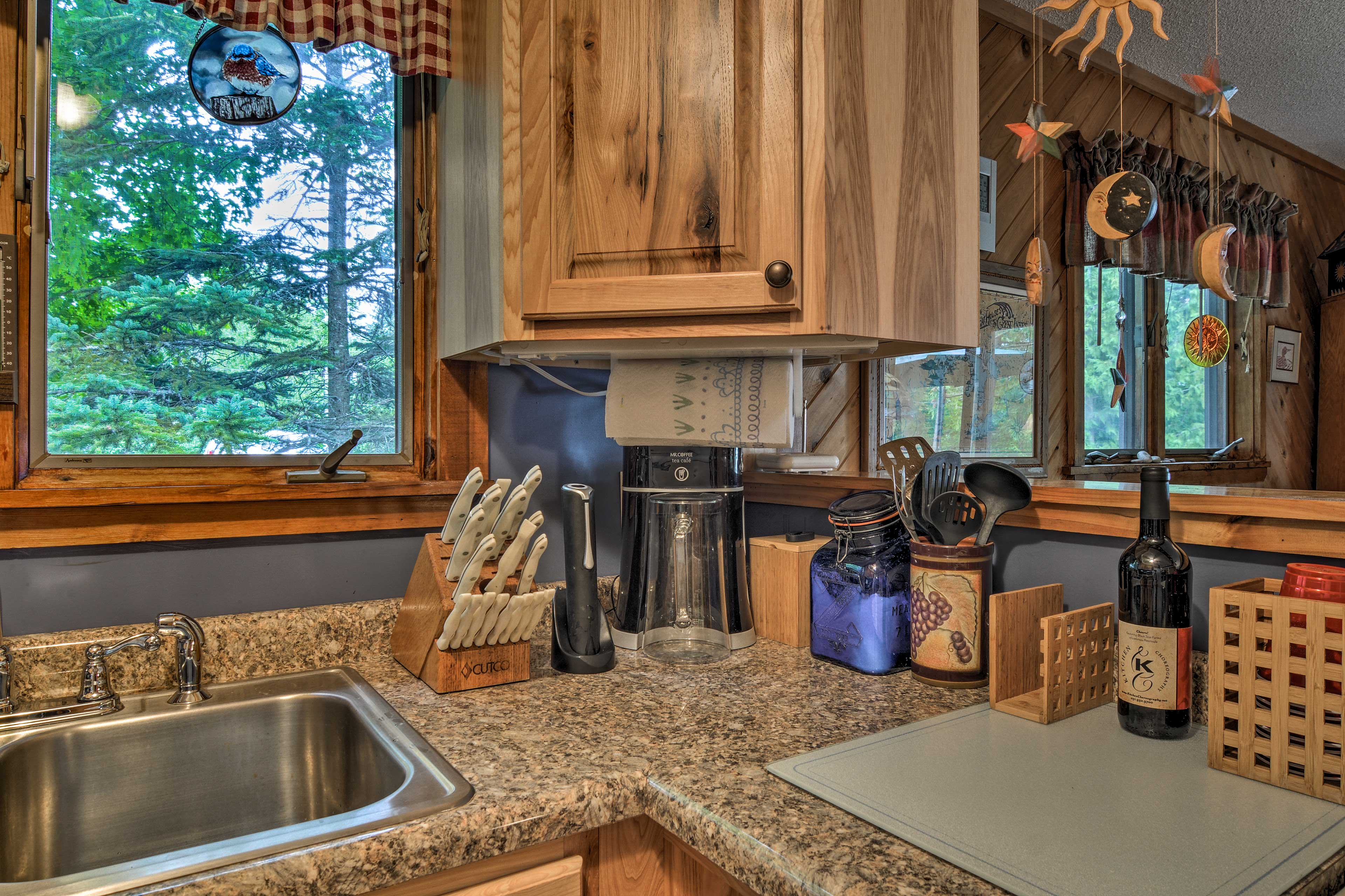 You'll find everything you need along the counters or in the cabinets.