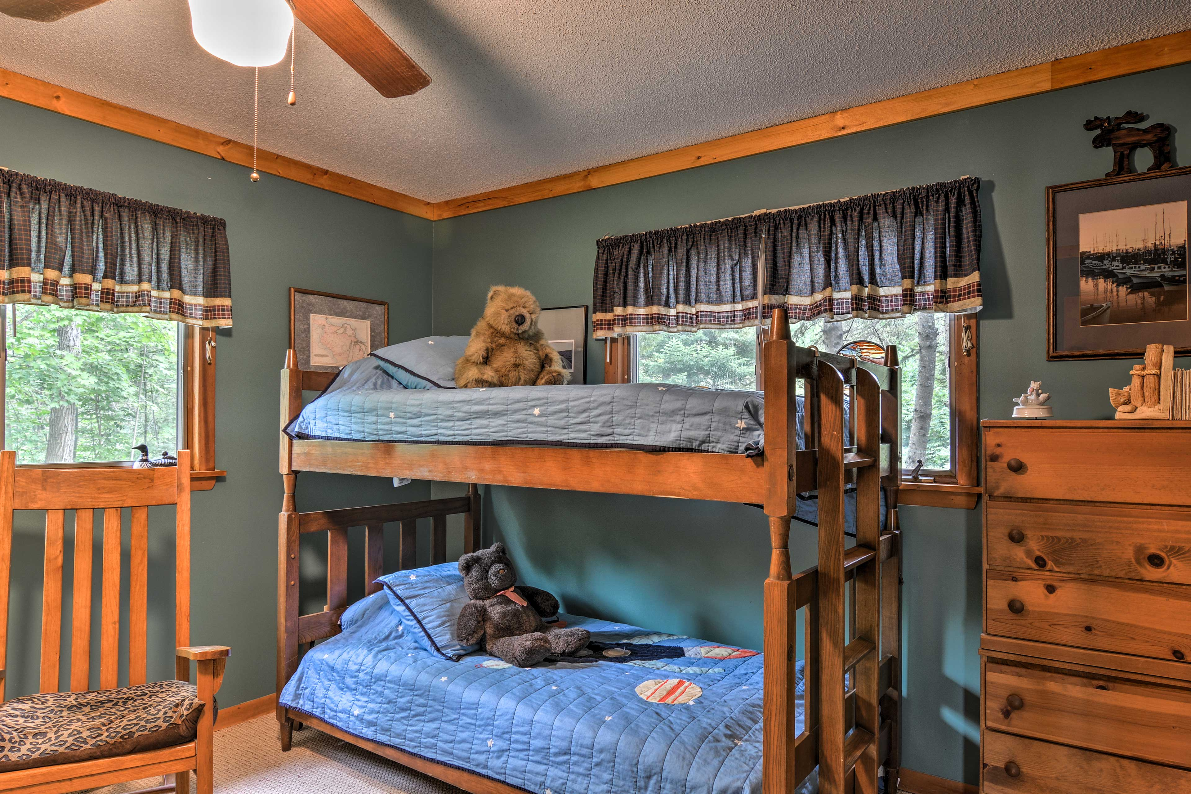 Kids will love sleeping in the twin-over-twin bunk bed!