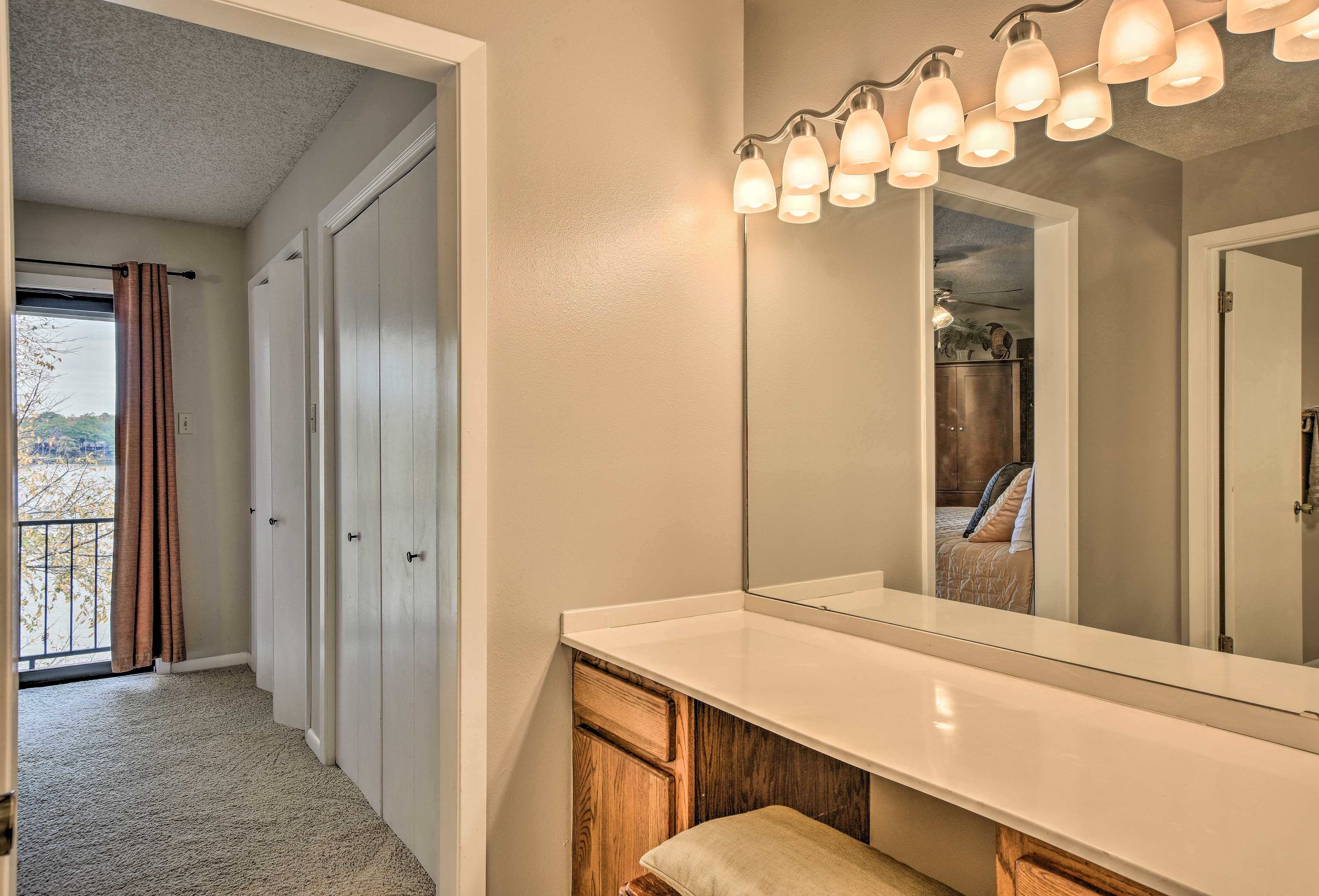 Ample counter space makes it easy to get ready in the morning.