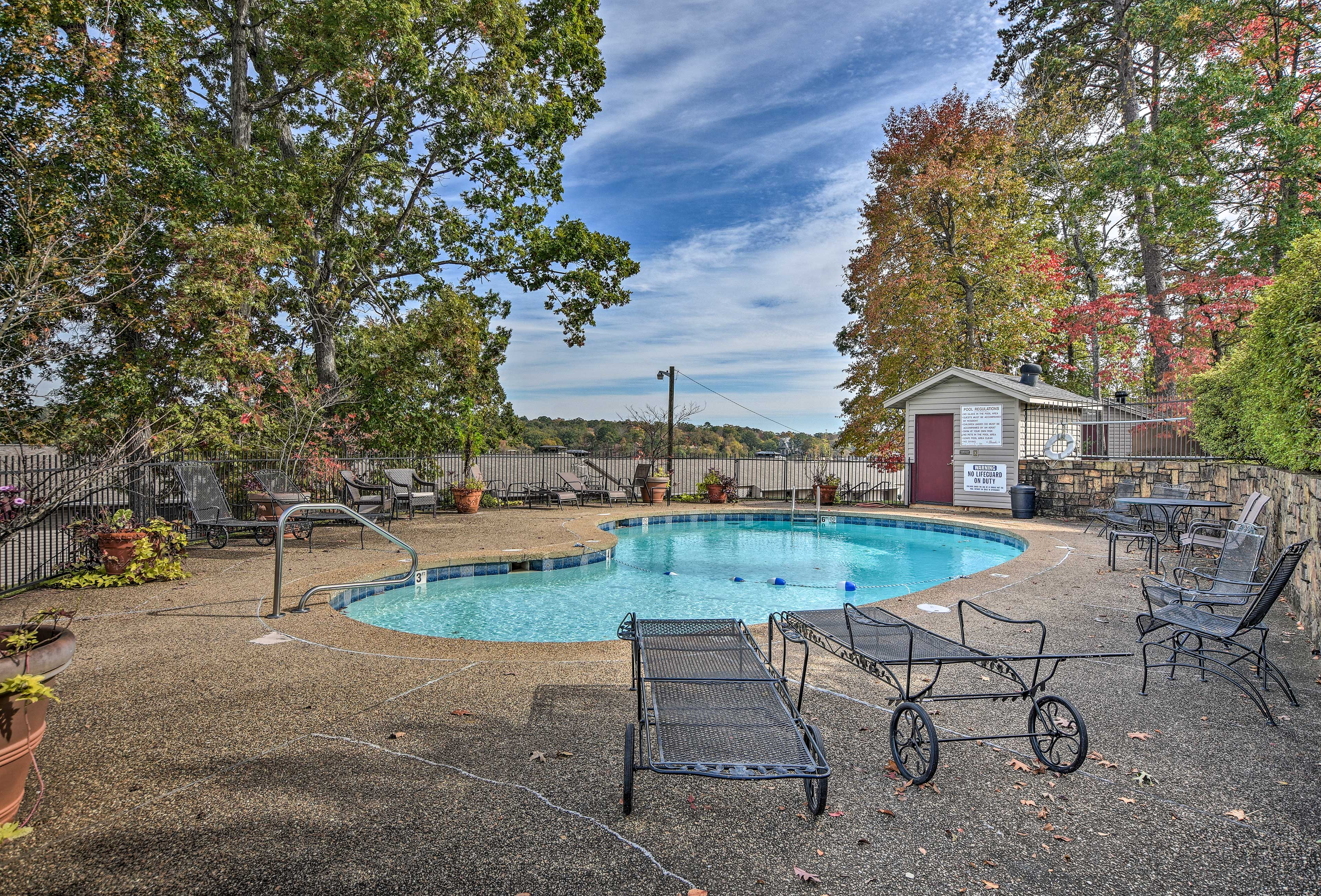 The community pool is open seasonally and does not require a key.