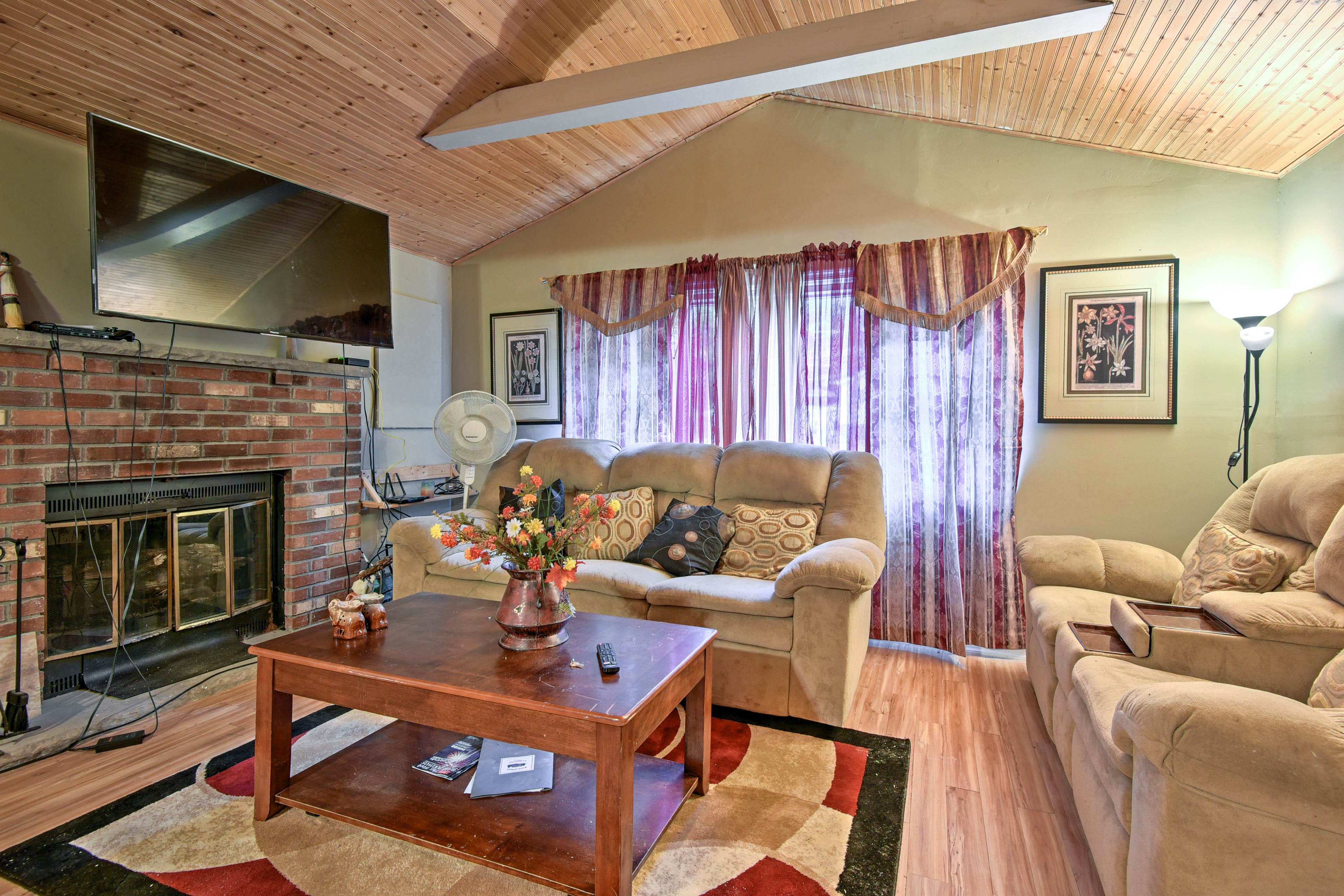 Inside, you'll find all of the comforts of home, including a flat-screen TV.