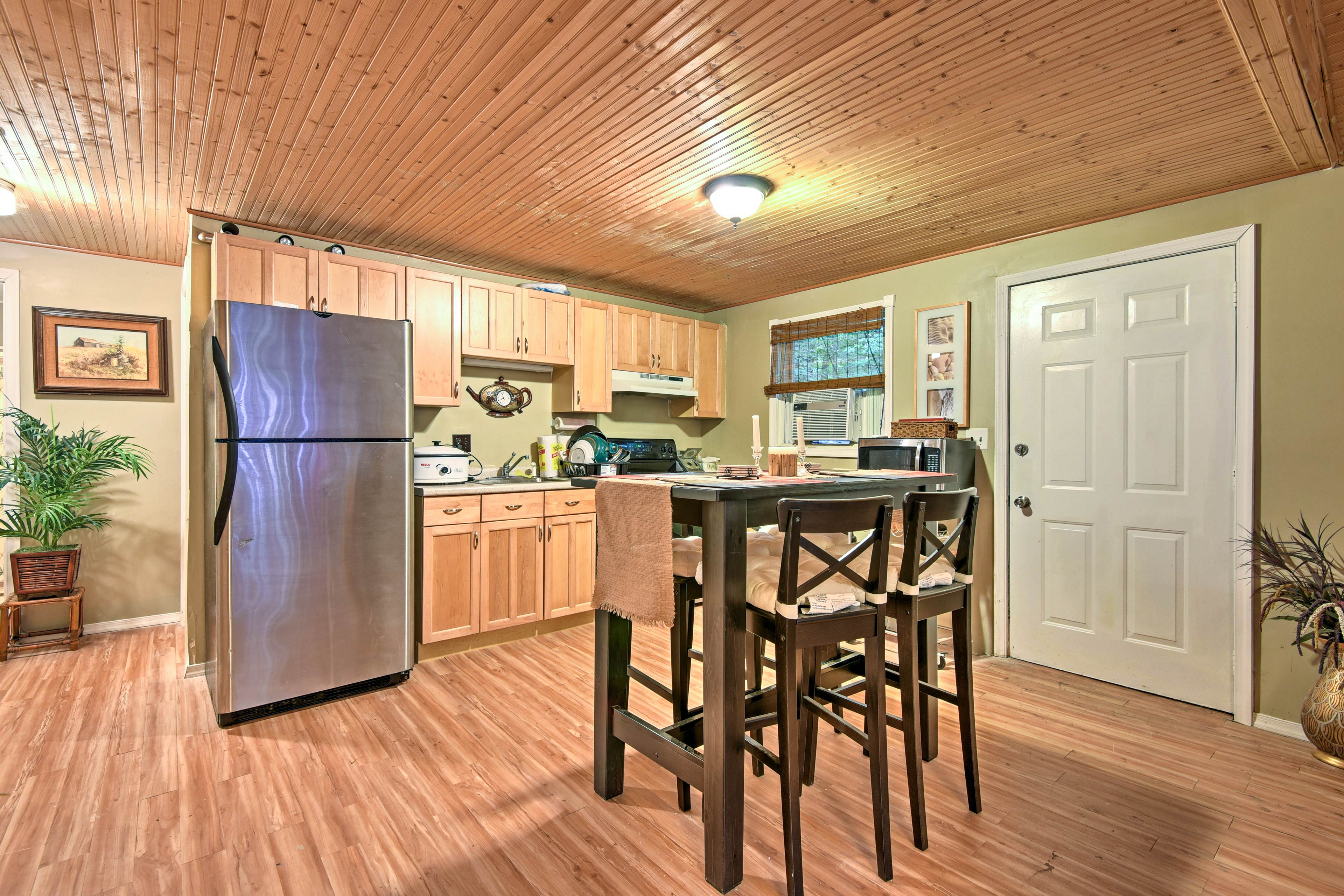 The kitchen comes well-equipped to handle all of your culinary needs.