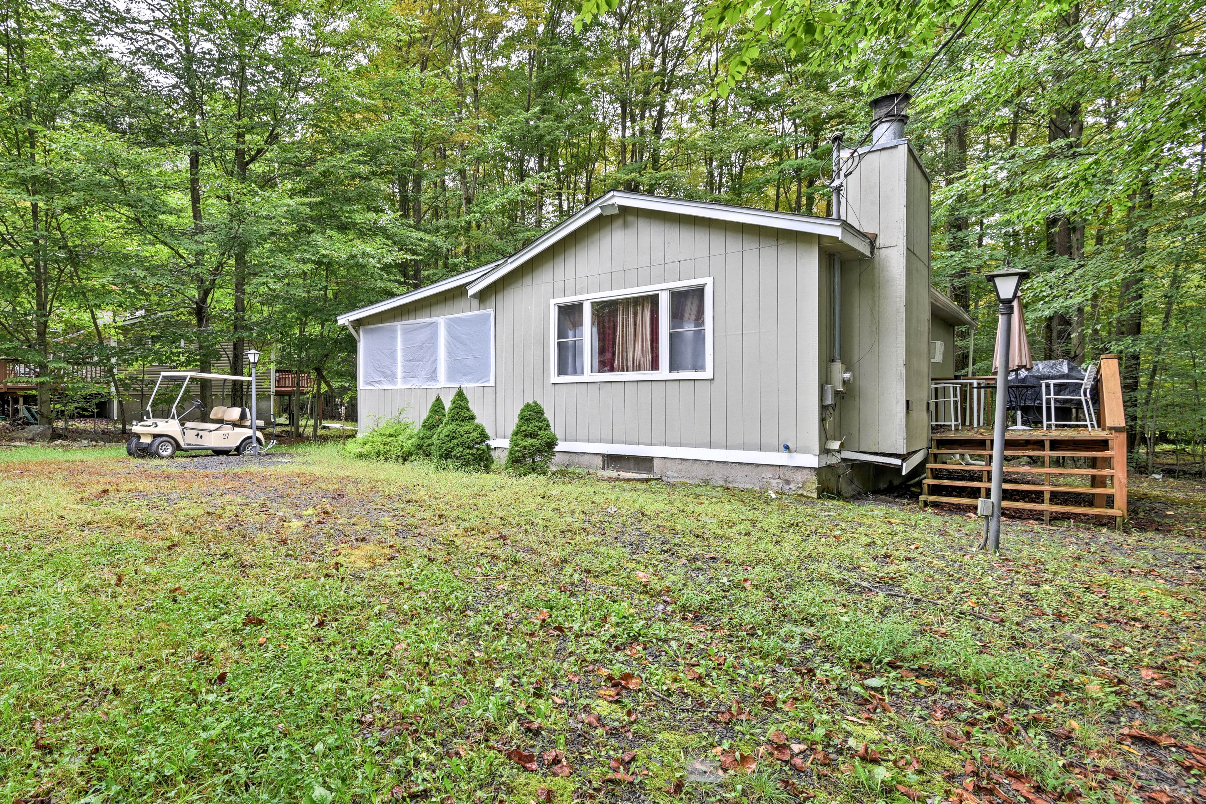 Kick off your Pocono Lake getaway from this 3-bed, 1-bath vacation rental house!