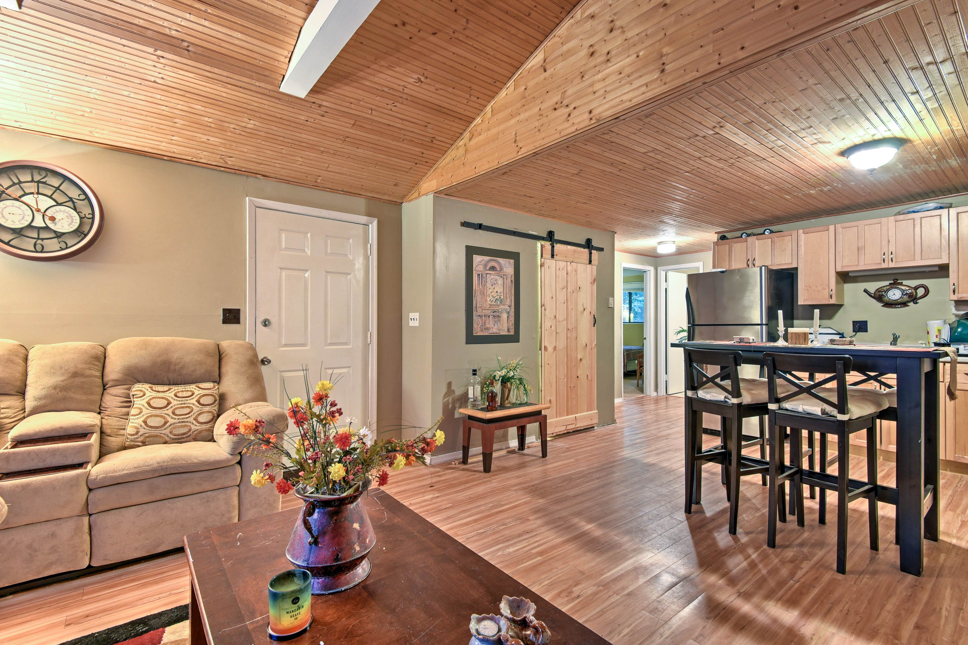 No one will feel left out of the conversation in the open-concept living area.