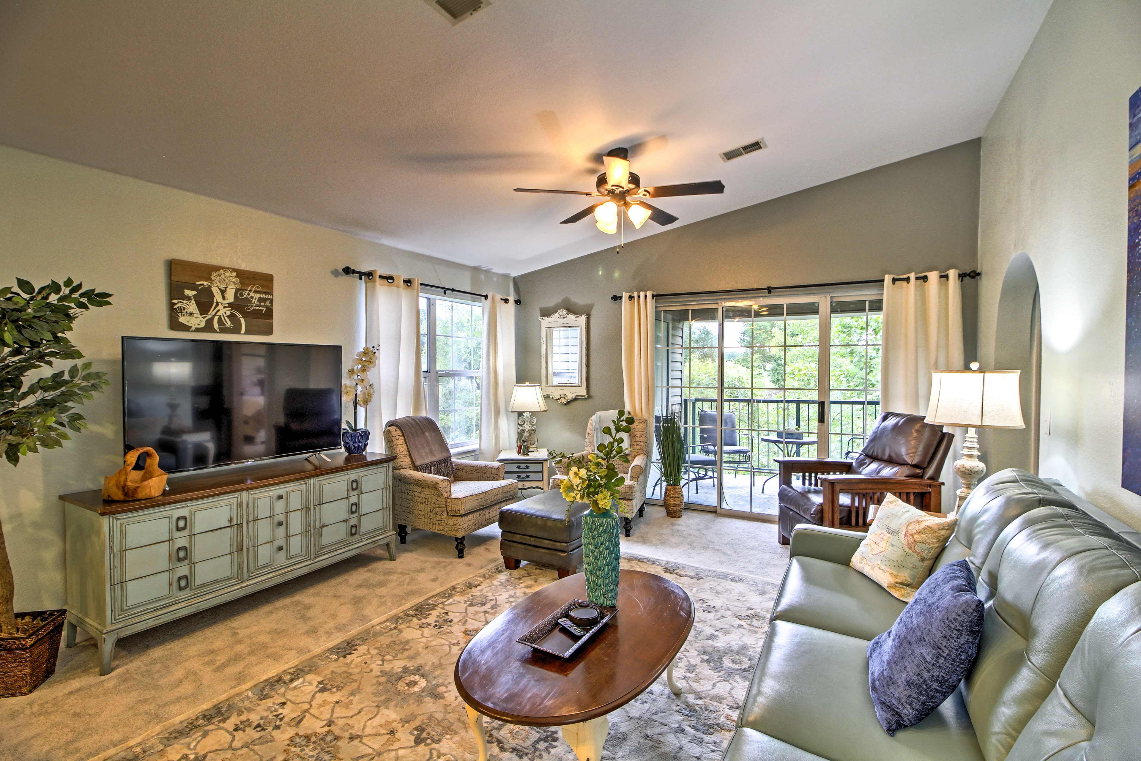 Check the weather on the flat-screen TV while you relax on the plush furnishings