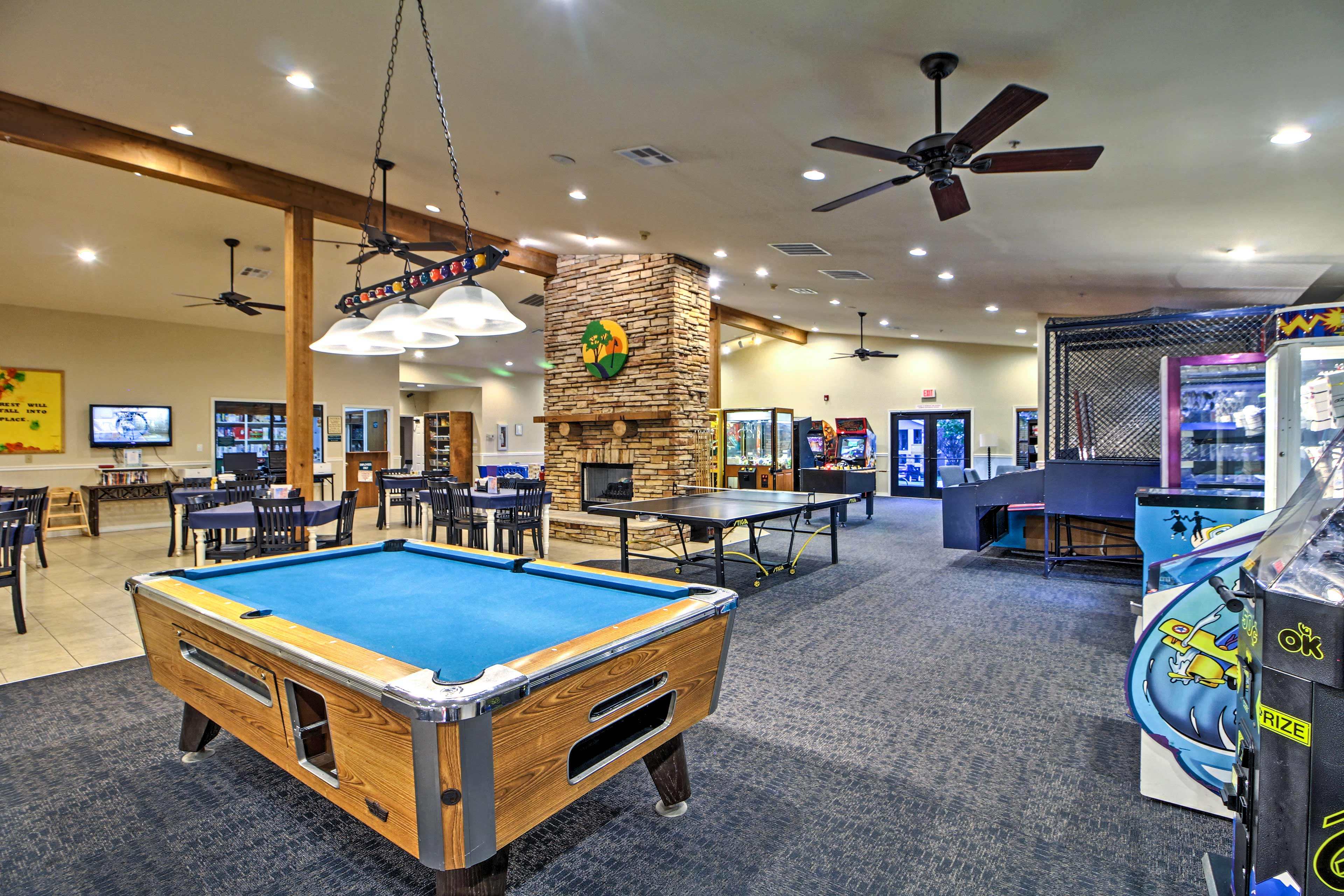 Kids will love the spacious arcade with games, a pool table, and ping pong table