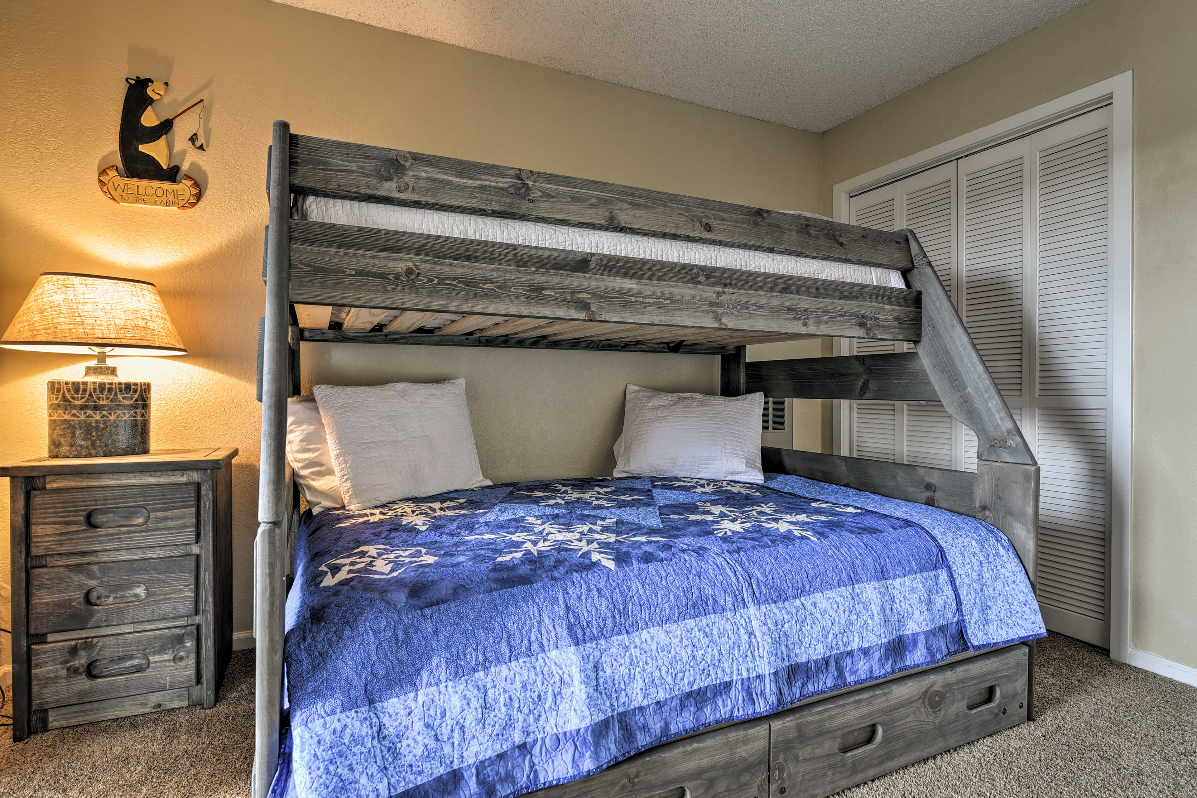 Use the DVD player to watch movies from the twin-over-full bunk bed.