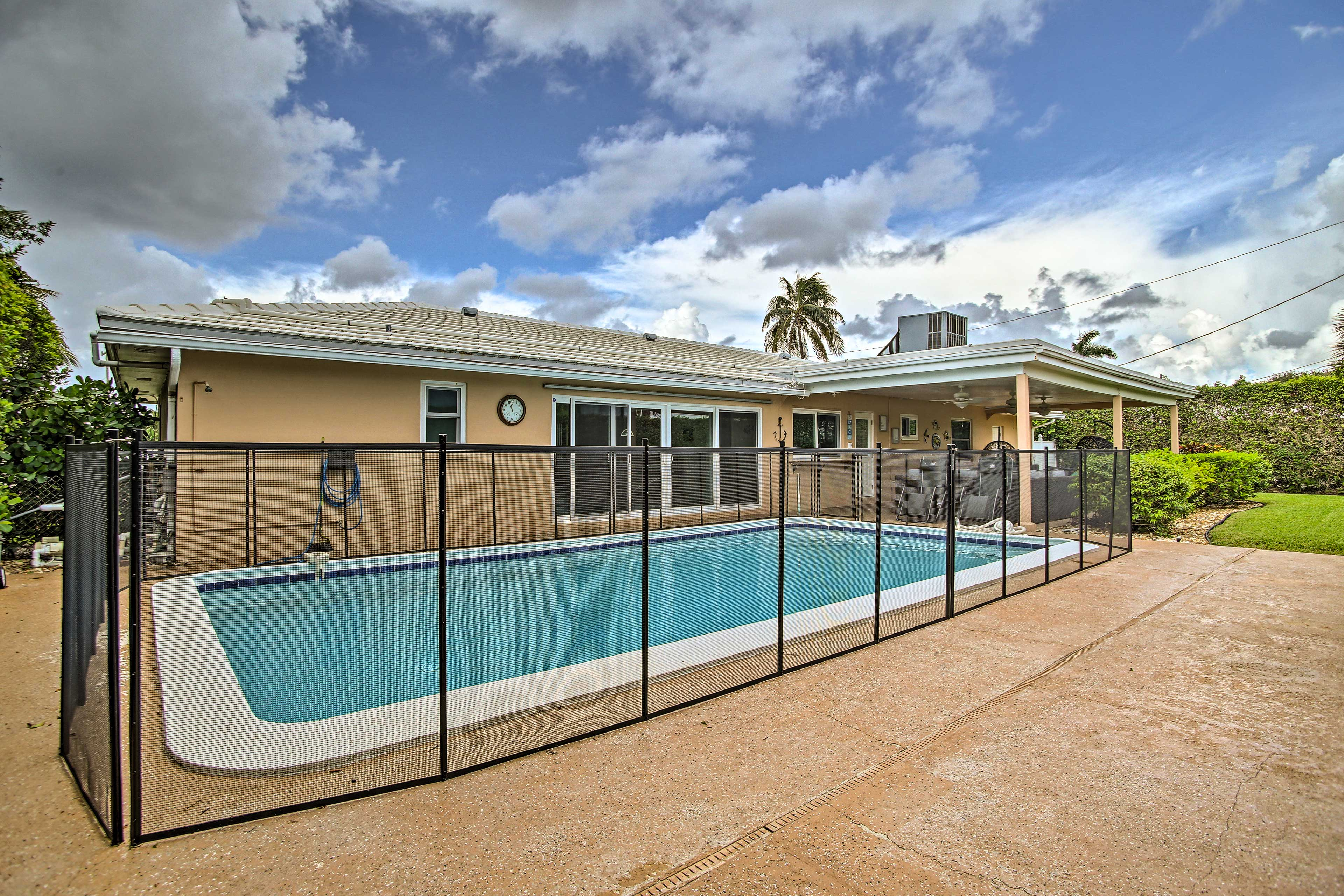 This vacation rental home has a private, heated saltwater pool!