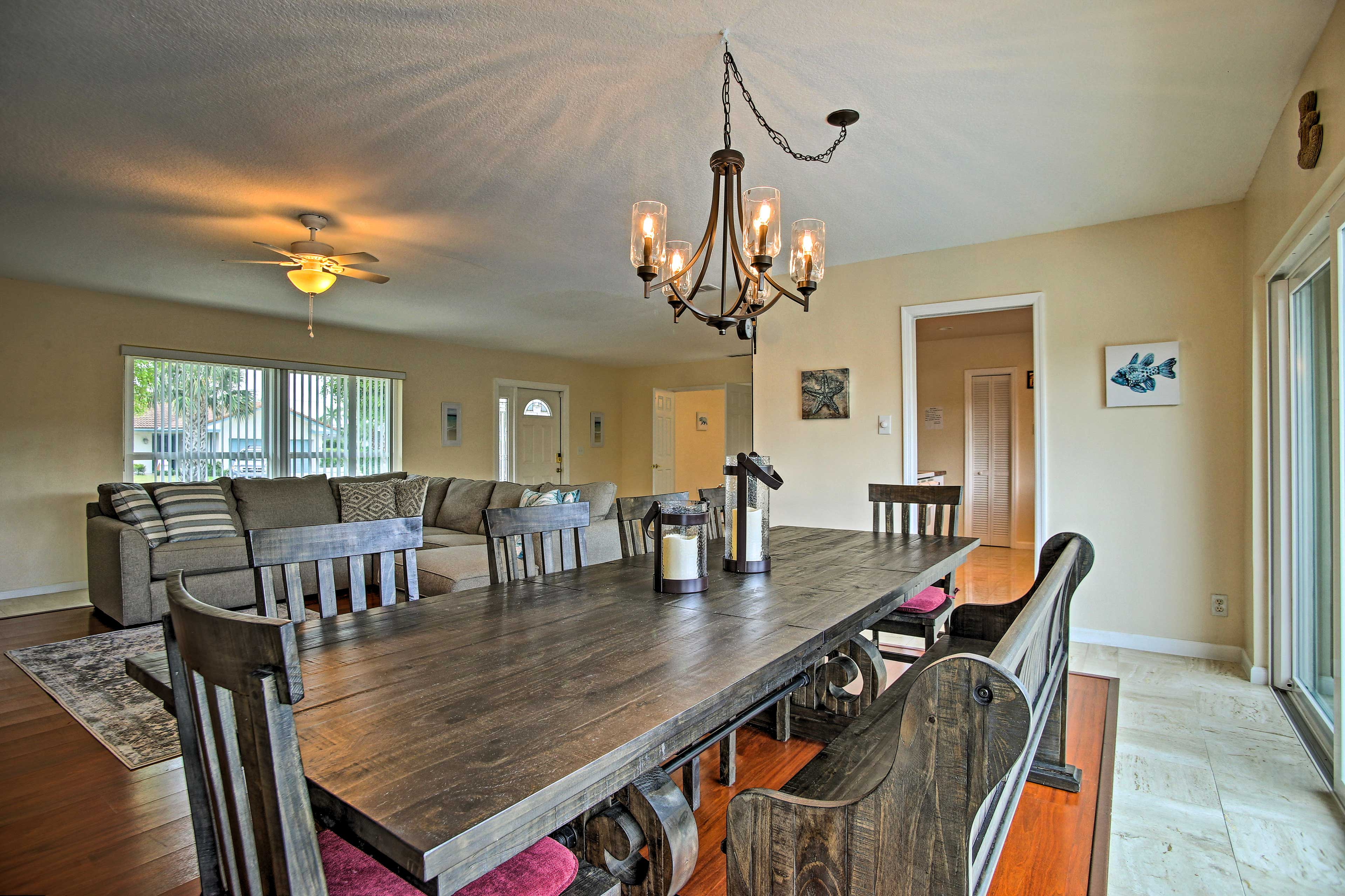 Gather around the spacious dining table.
