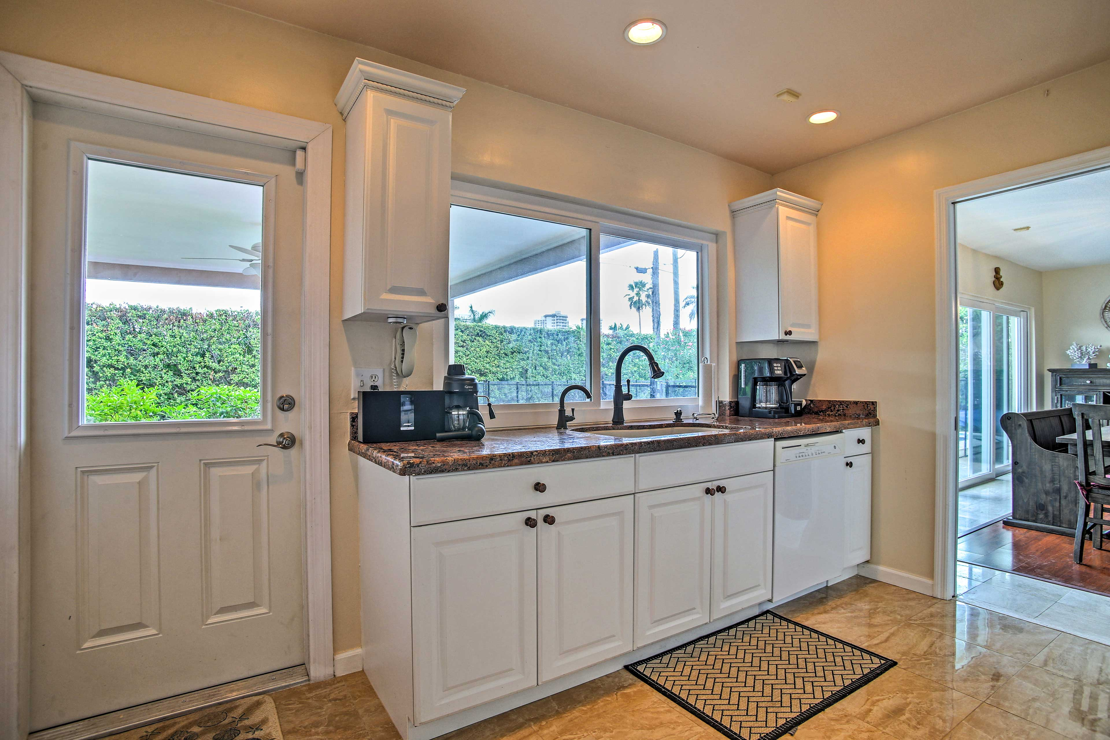 Access the patio from the kitchen.