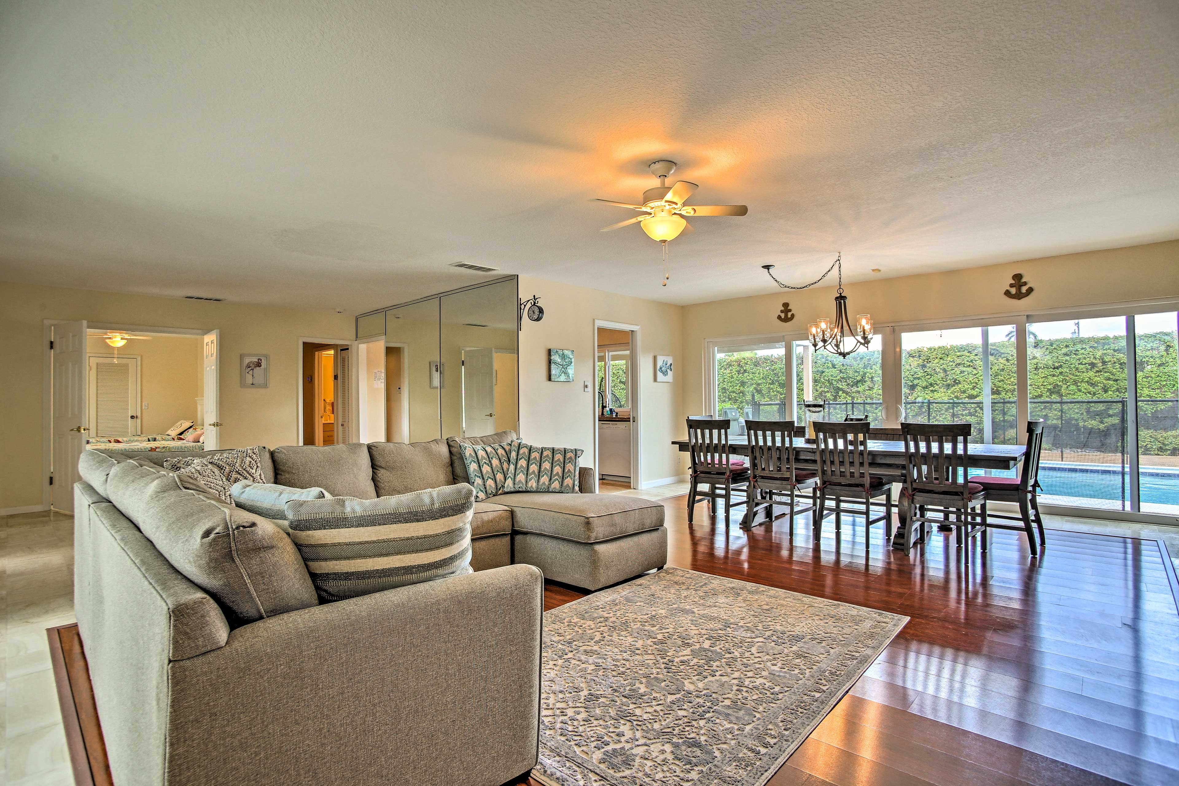 There are 3 bedrooms, 2 bathrooms, a full-sized sleeper sofa & room to sleep 10!