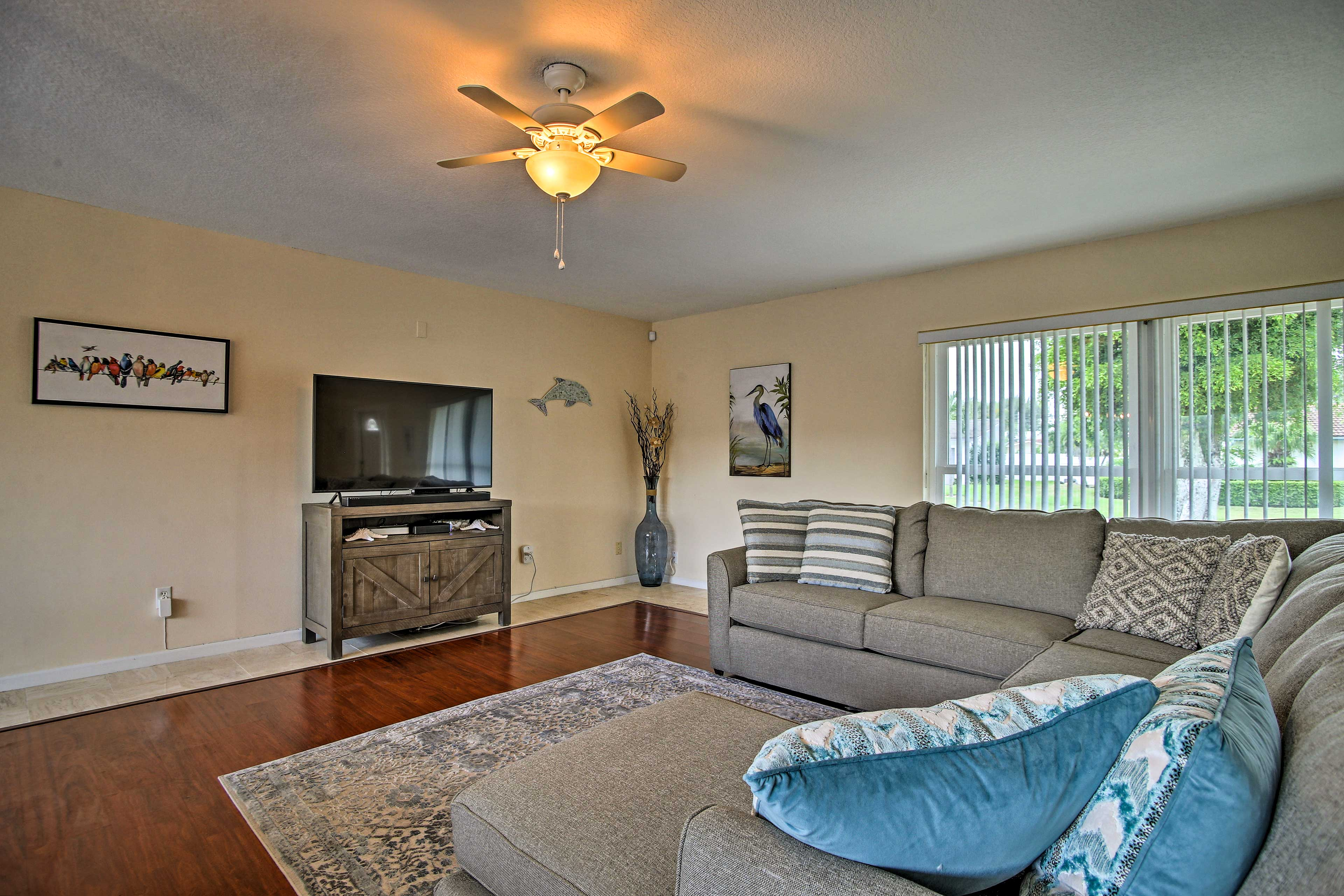 Watch a show or movie on the large flat-screen TV.