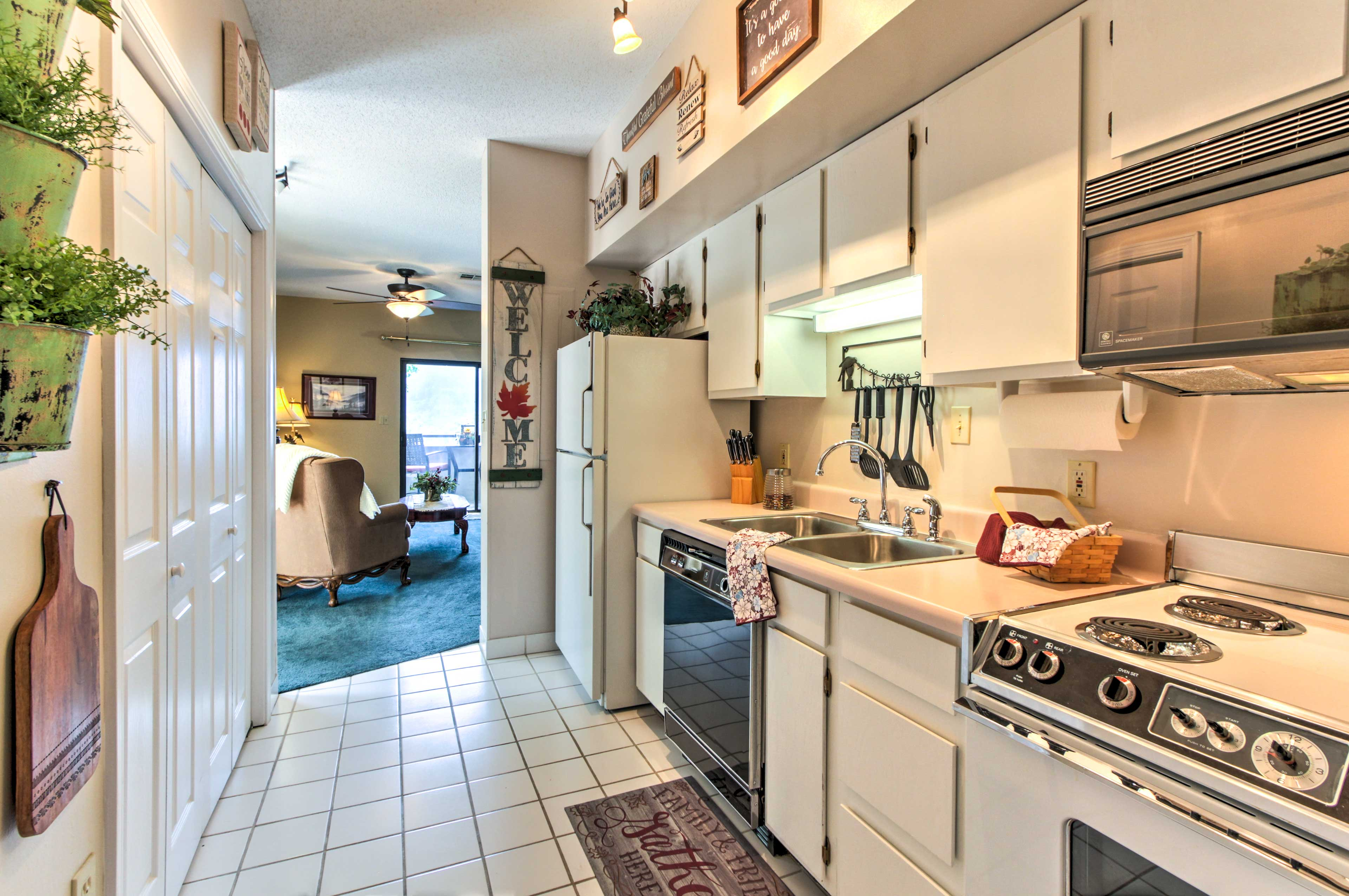 The fully equipped kitchen provides everything needed for home cooking!