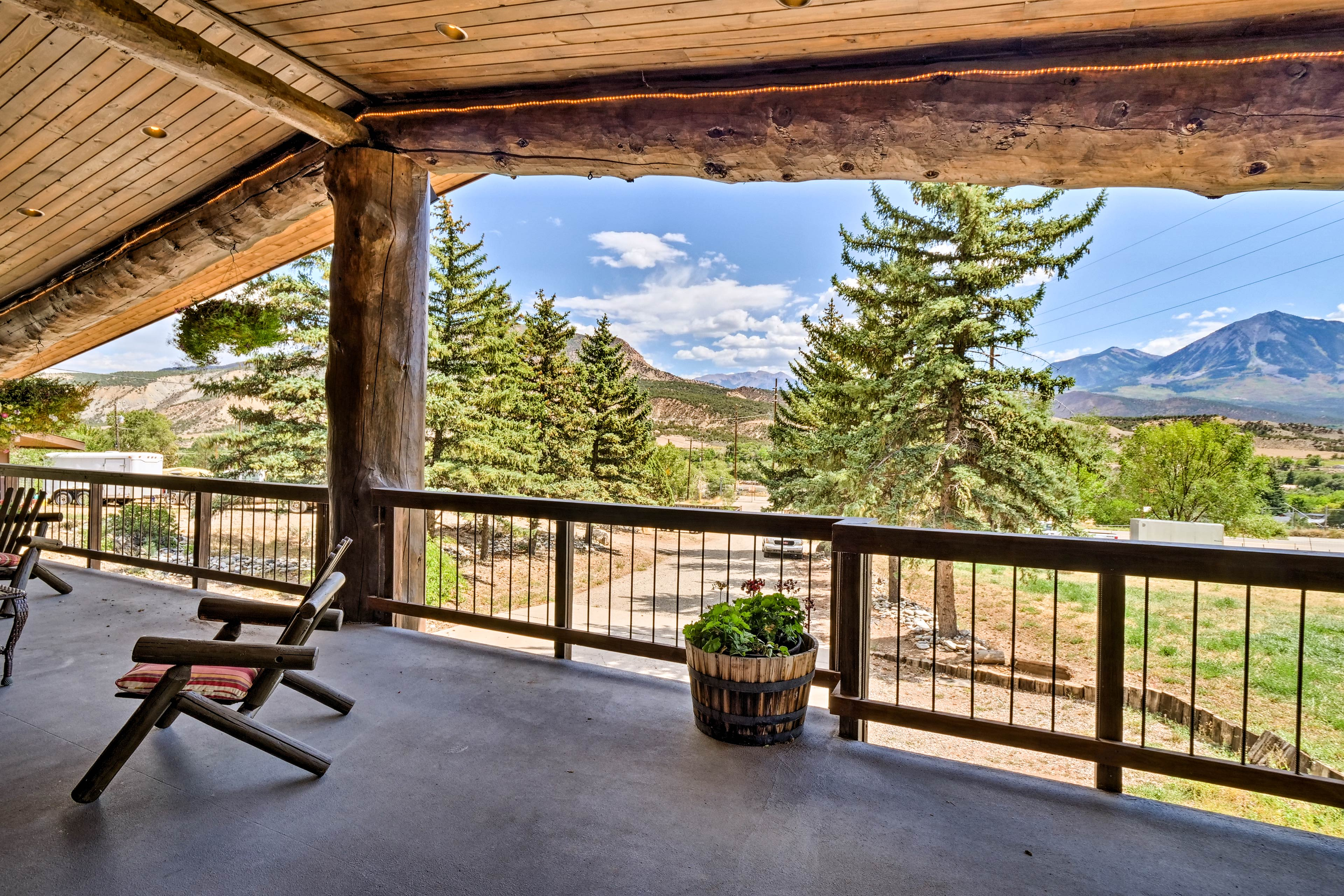 The tallest mountain you'll see from the deck is Mount Lamborn.