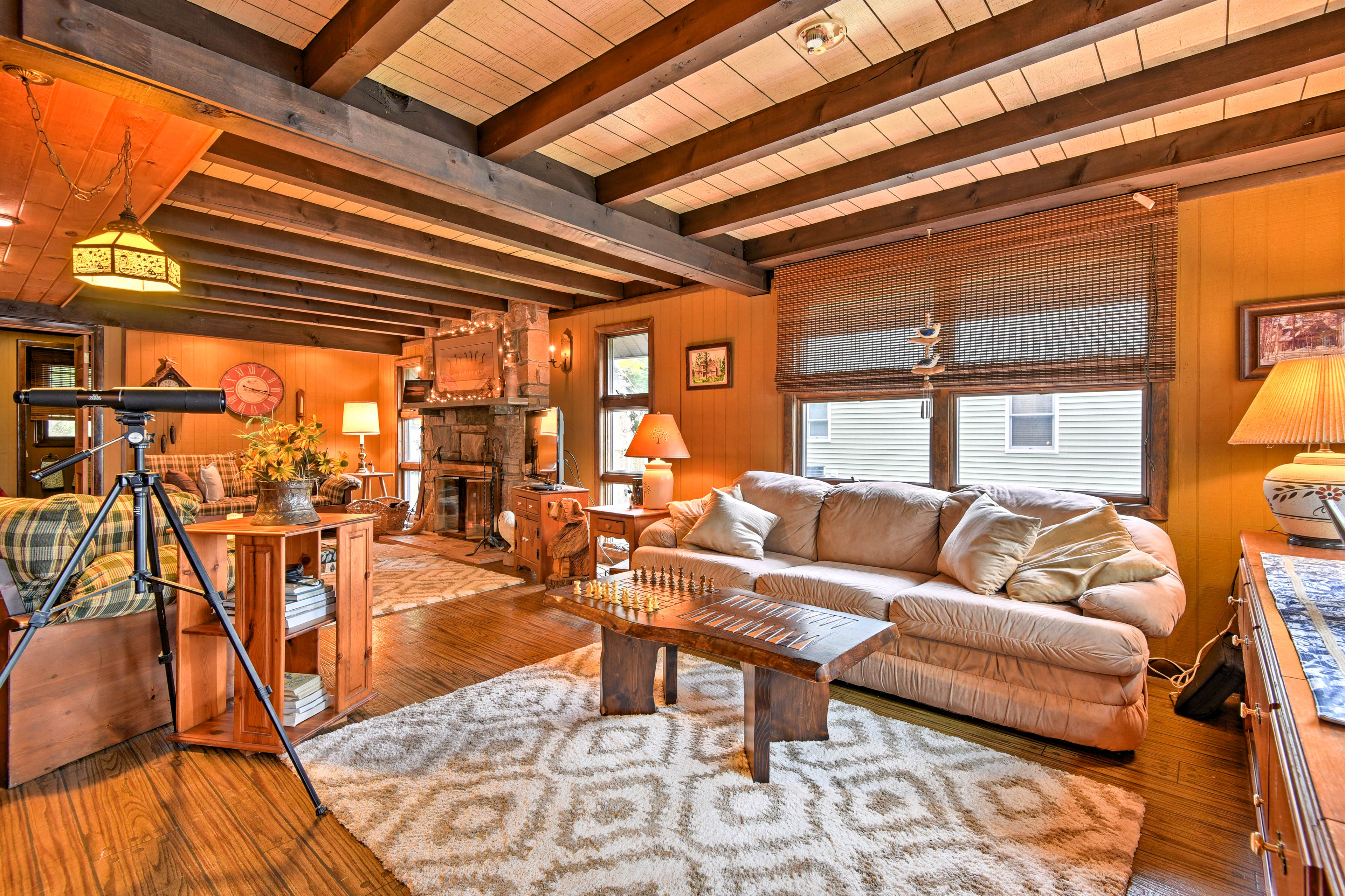 The cozy living space is perfect for spending time with family.
