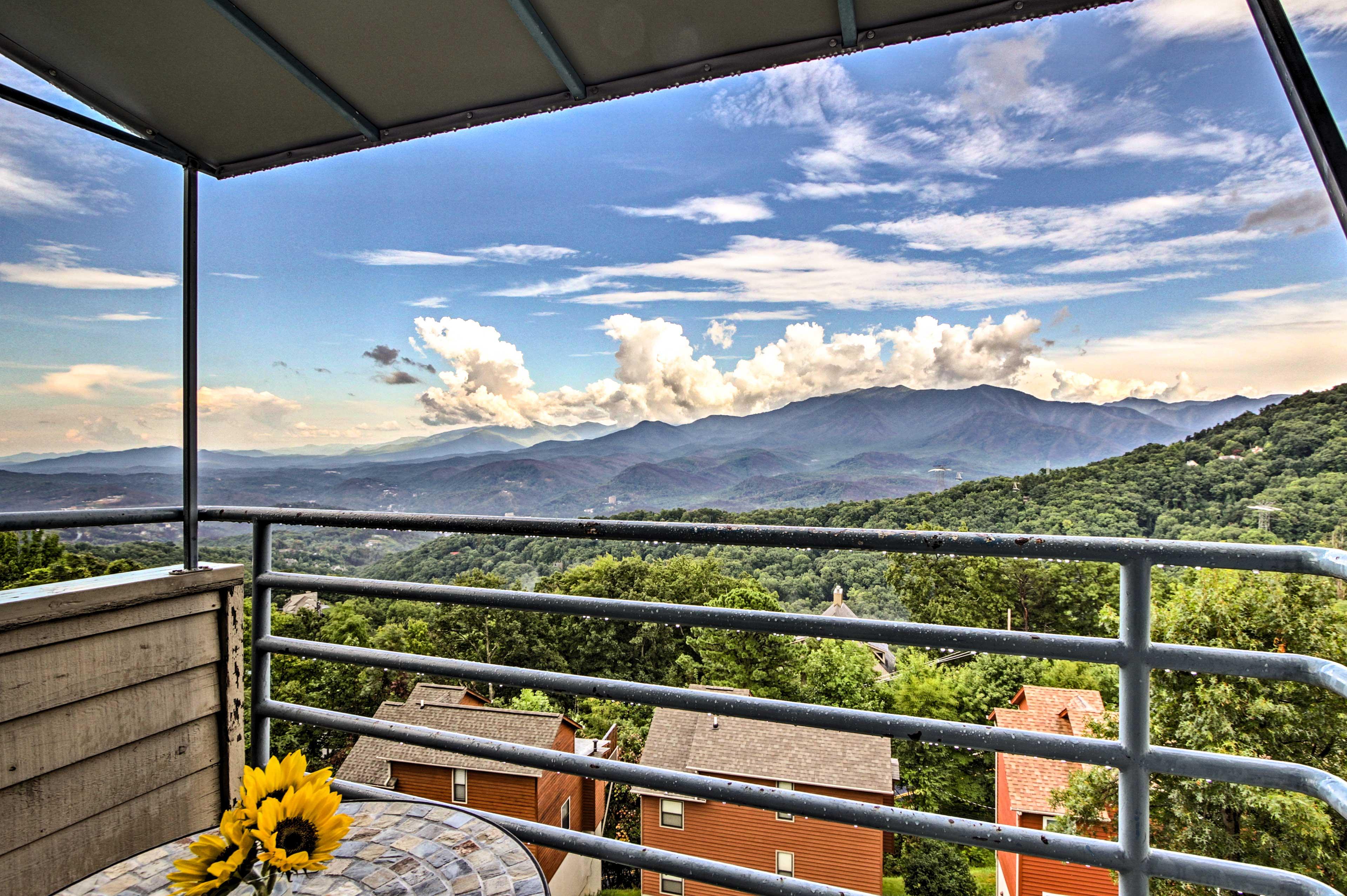 Stunning Smoky Mountain views grace this vacation rental condo!