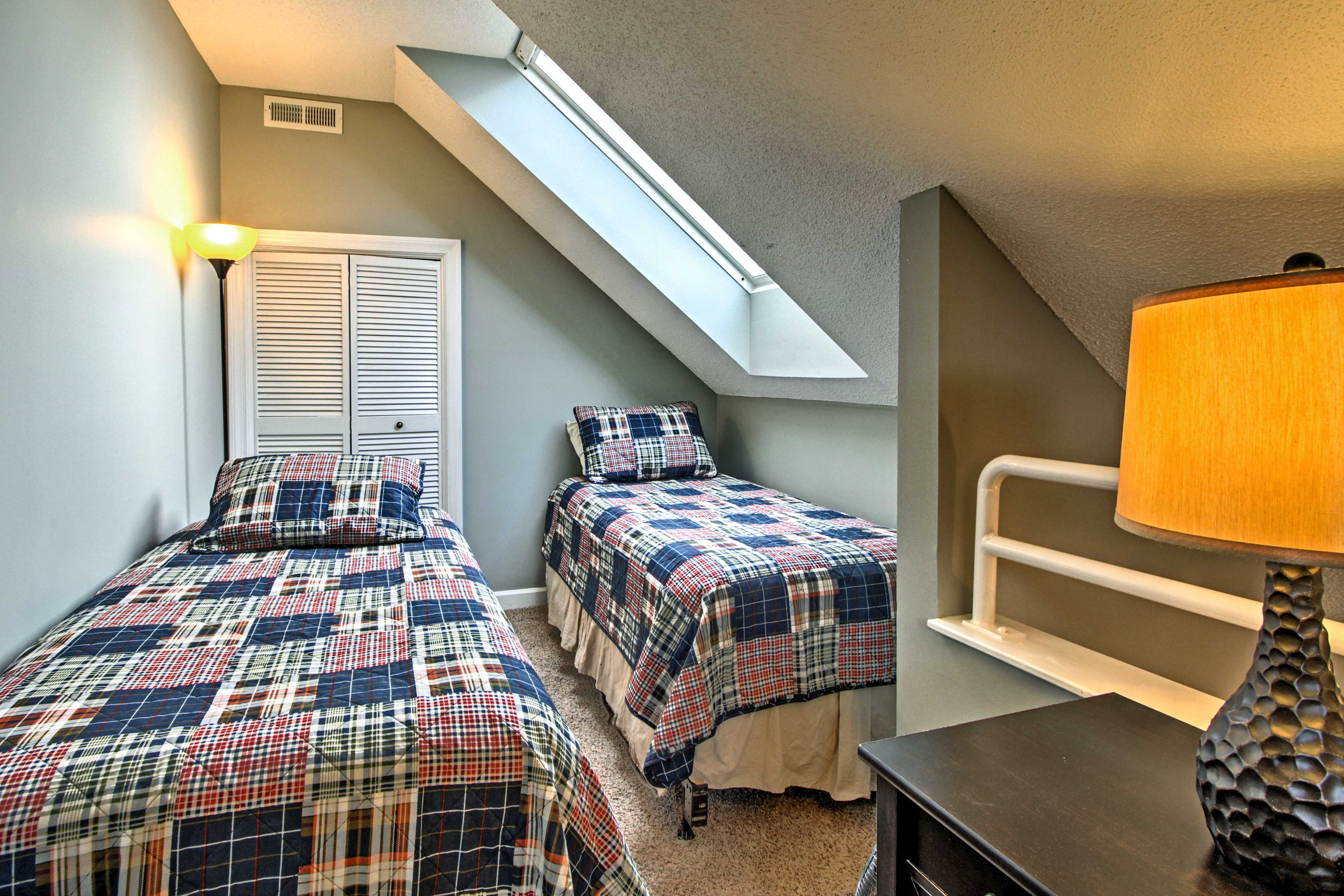 Kids can climb the stairs up to the lofted bedroom.