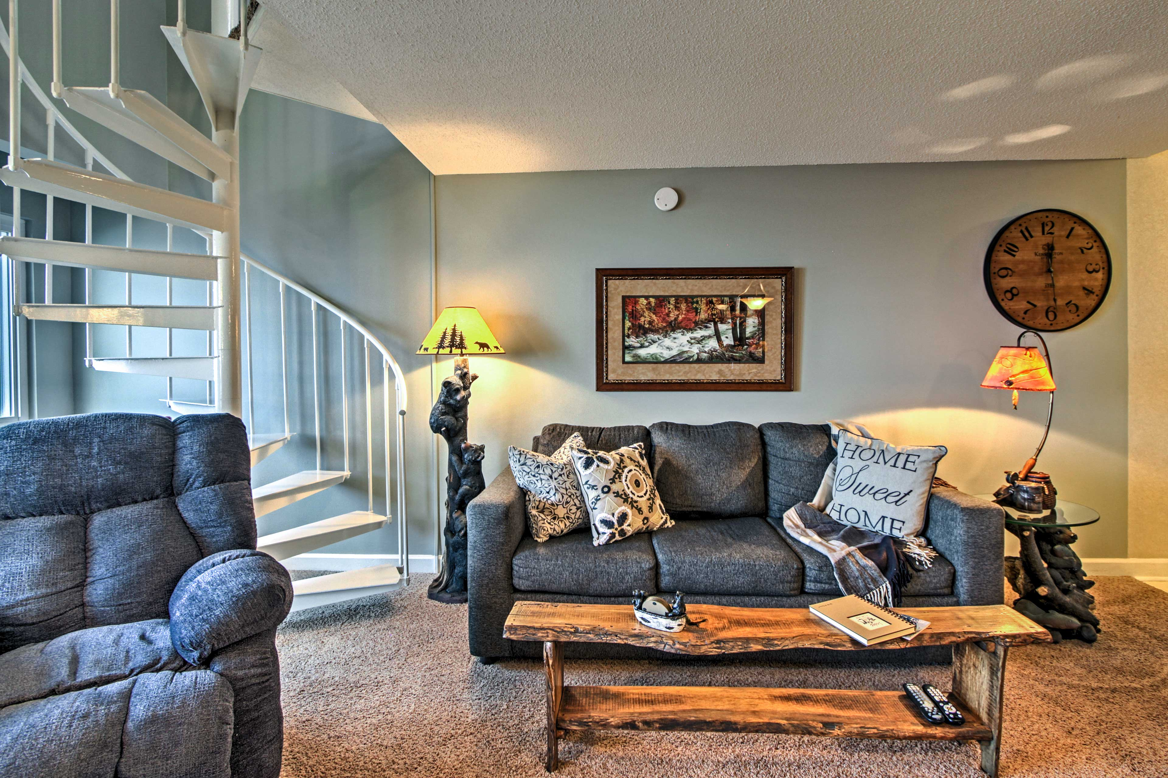 This recently updated condo features Northwoods decor throughout.