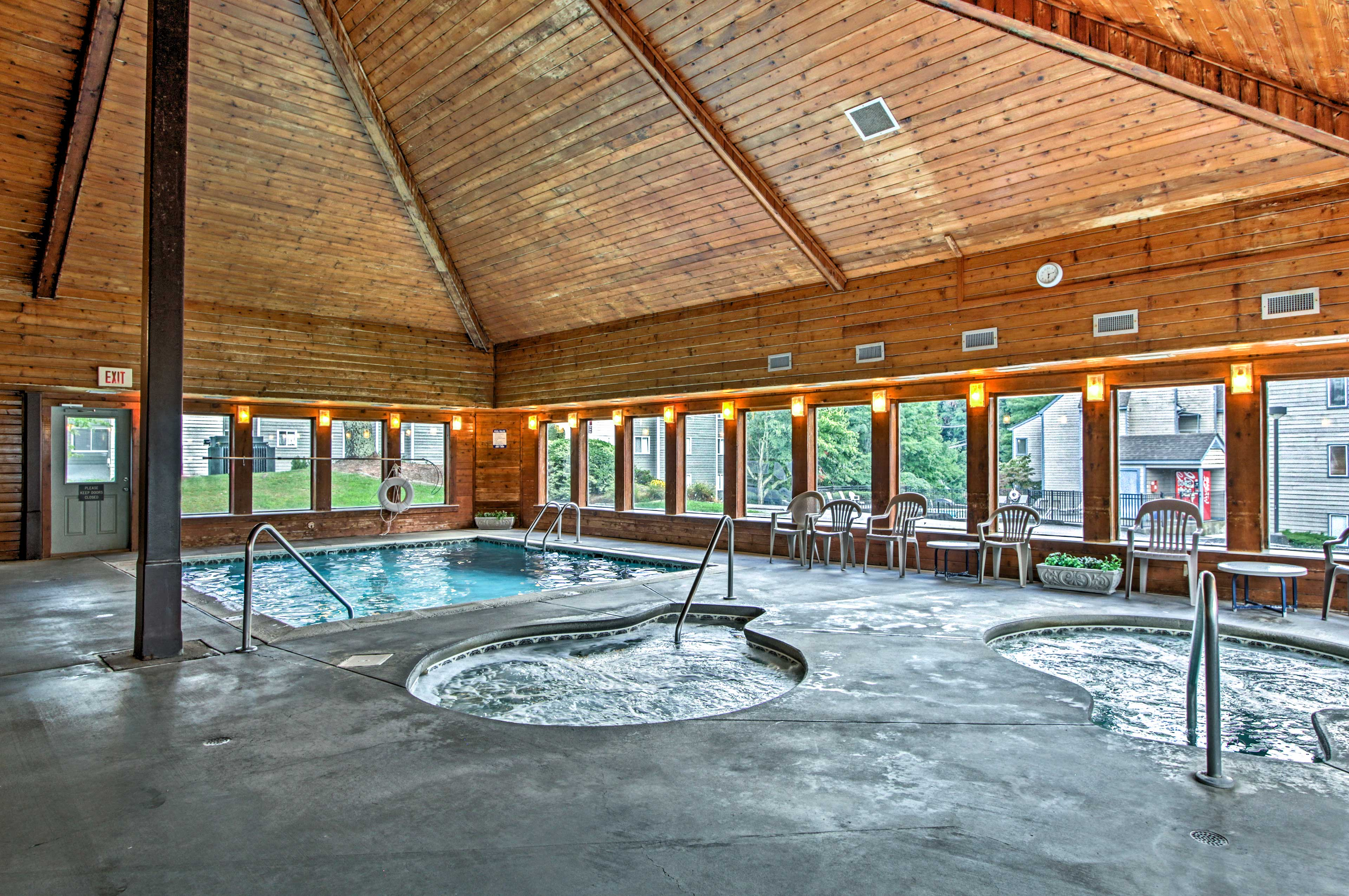 Relax in one of the shared hot tubs after a day of skiing or tubing.