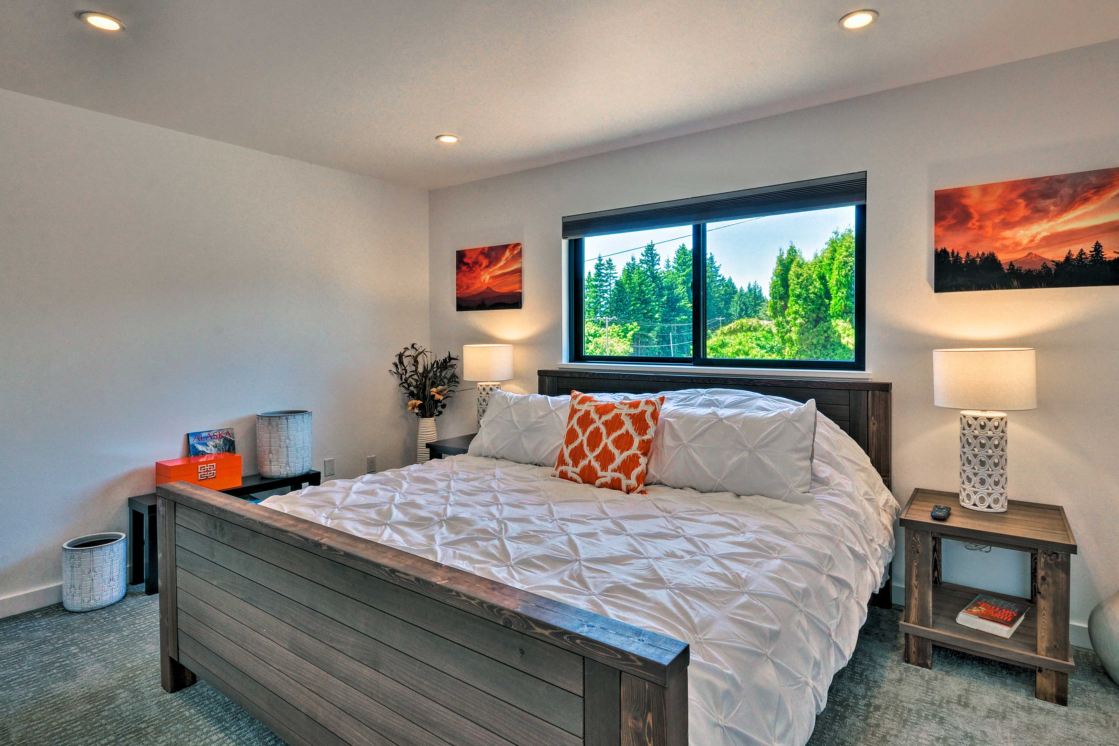 This bedroom features a king bed.