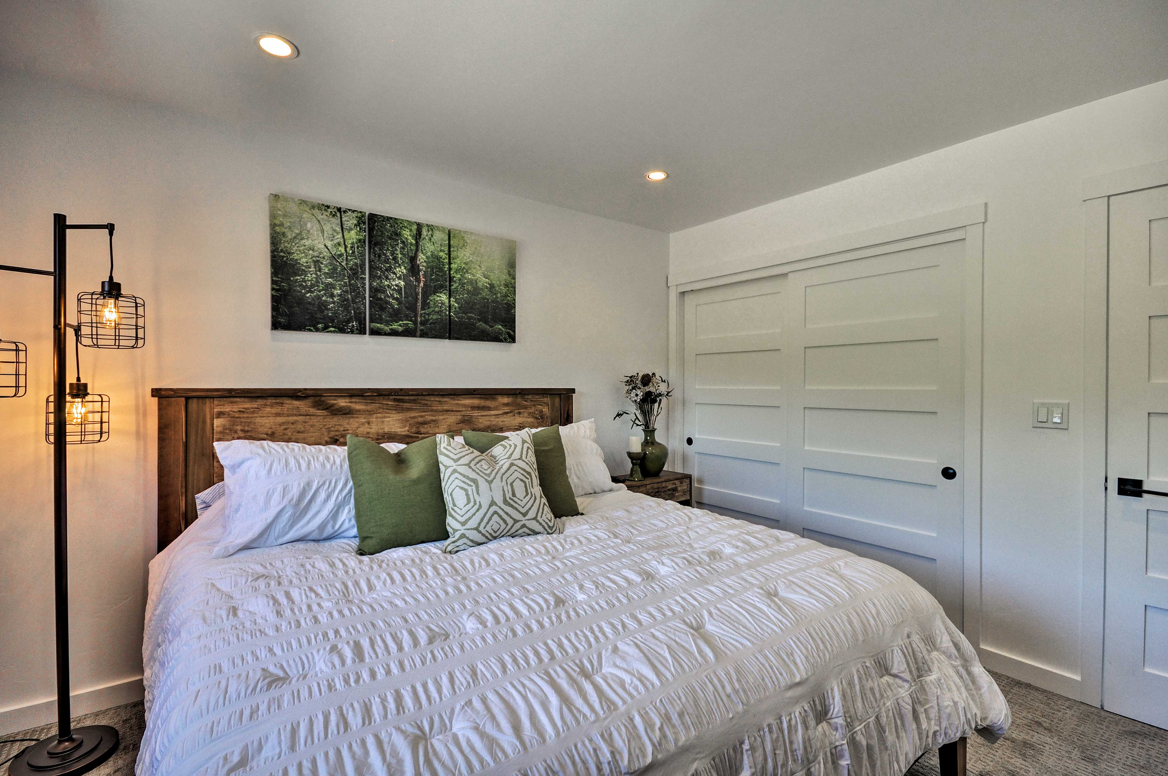 Two people can sleep comfortably in this king bed.