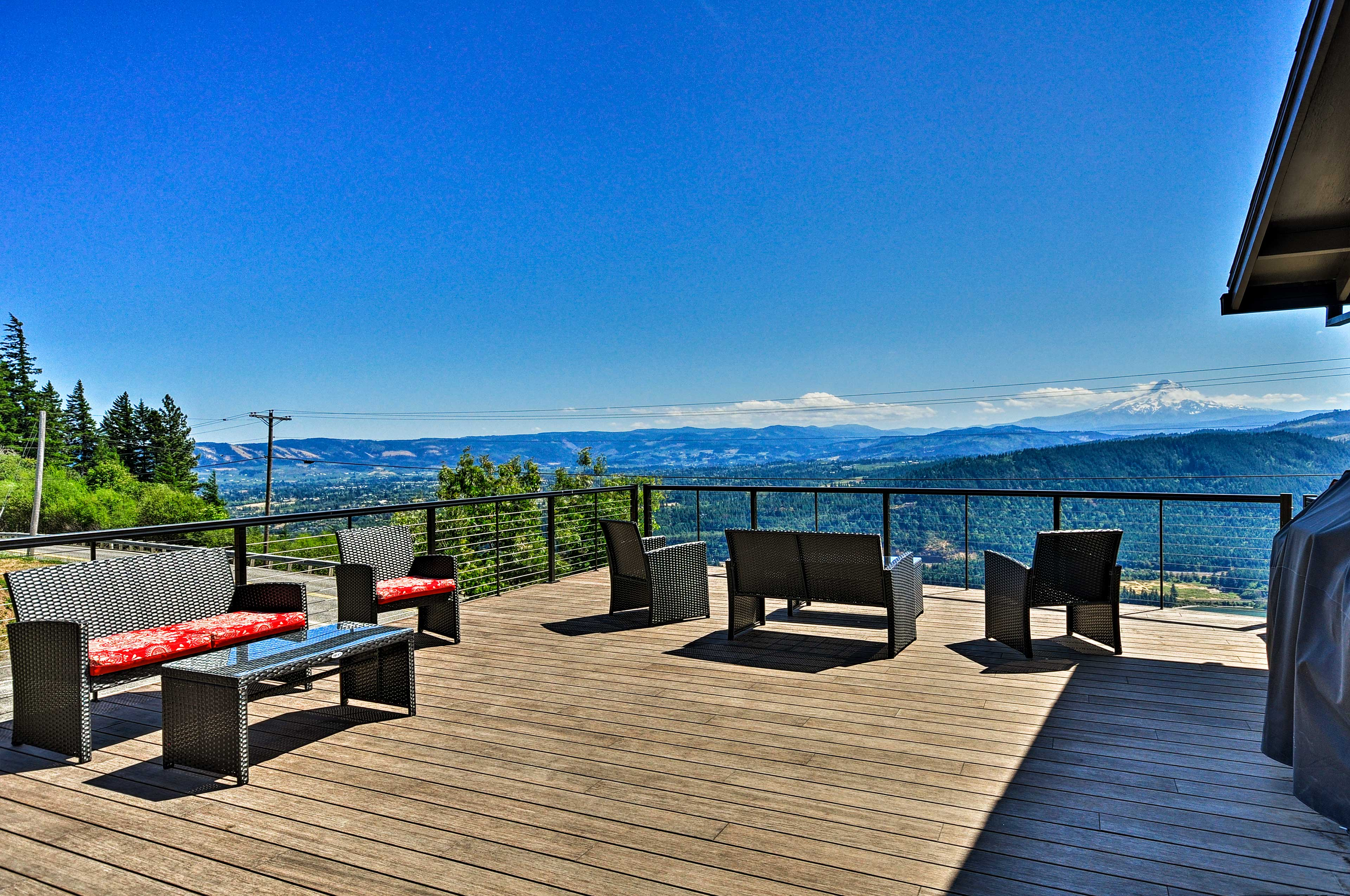 Head out to the spacious deck to enjoy the views.