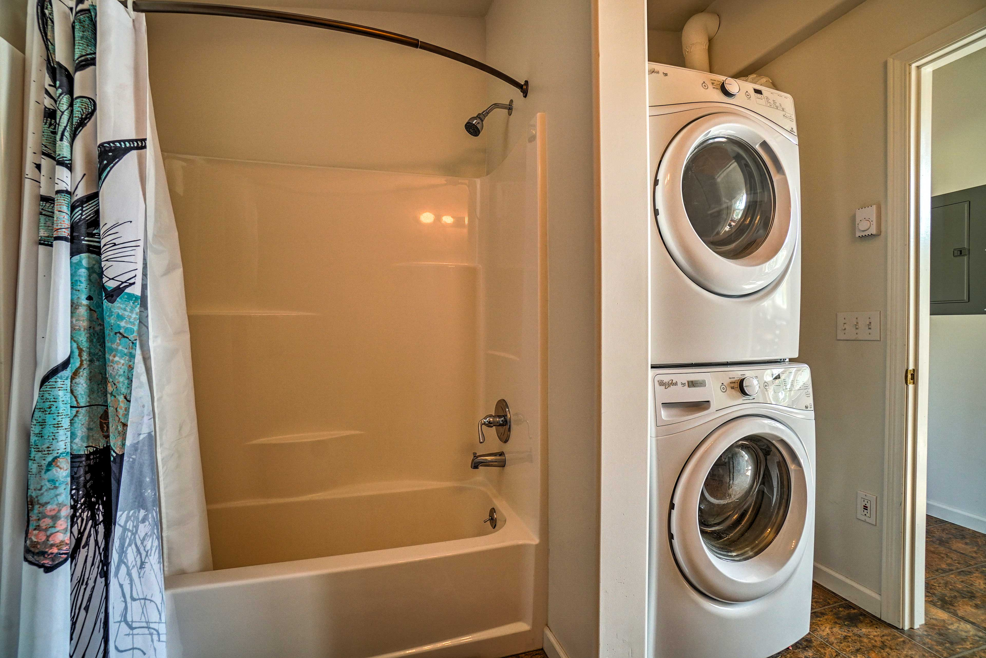 Wash your cloths in the in-unit washer and dryer.
