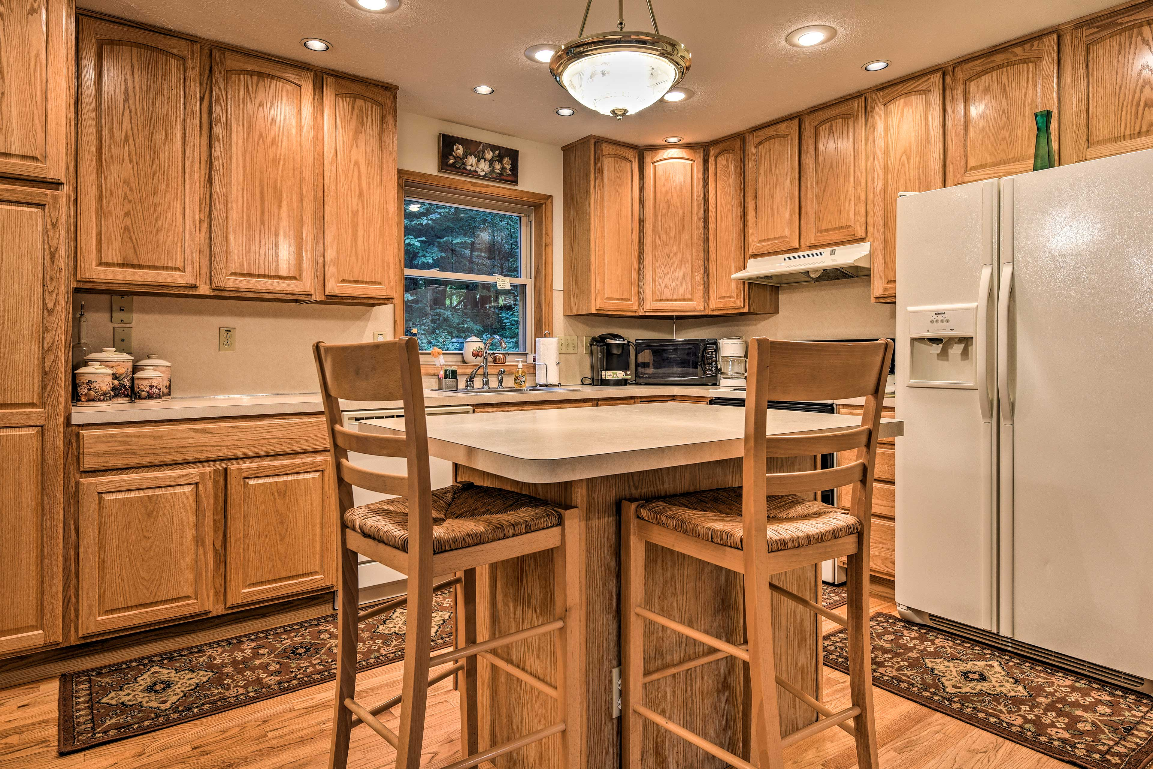 Serve snacks and appetizers at the kitchen island!