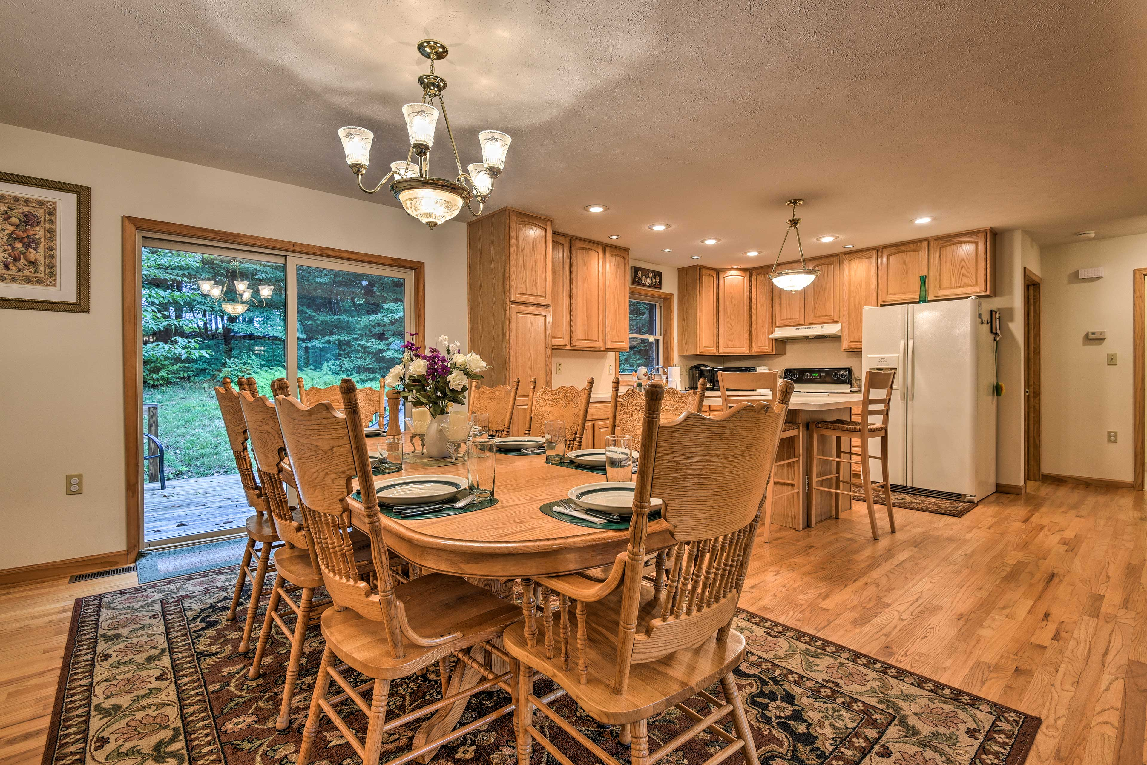 Enjoy a home-cooked meals at the large dining table.