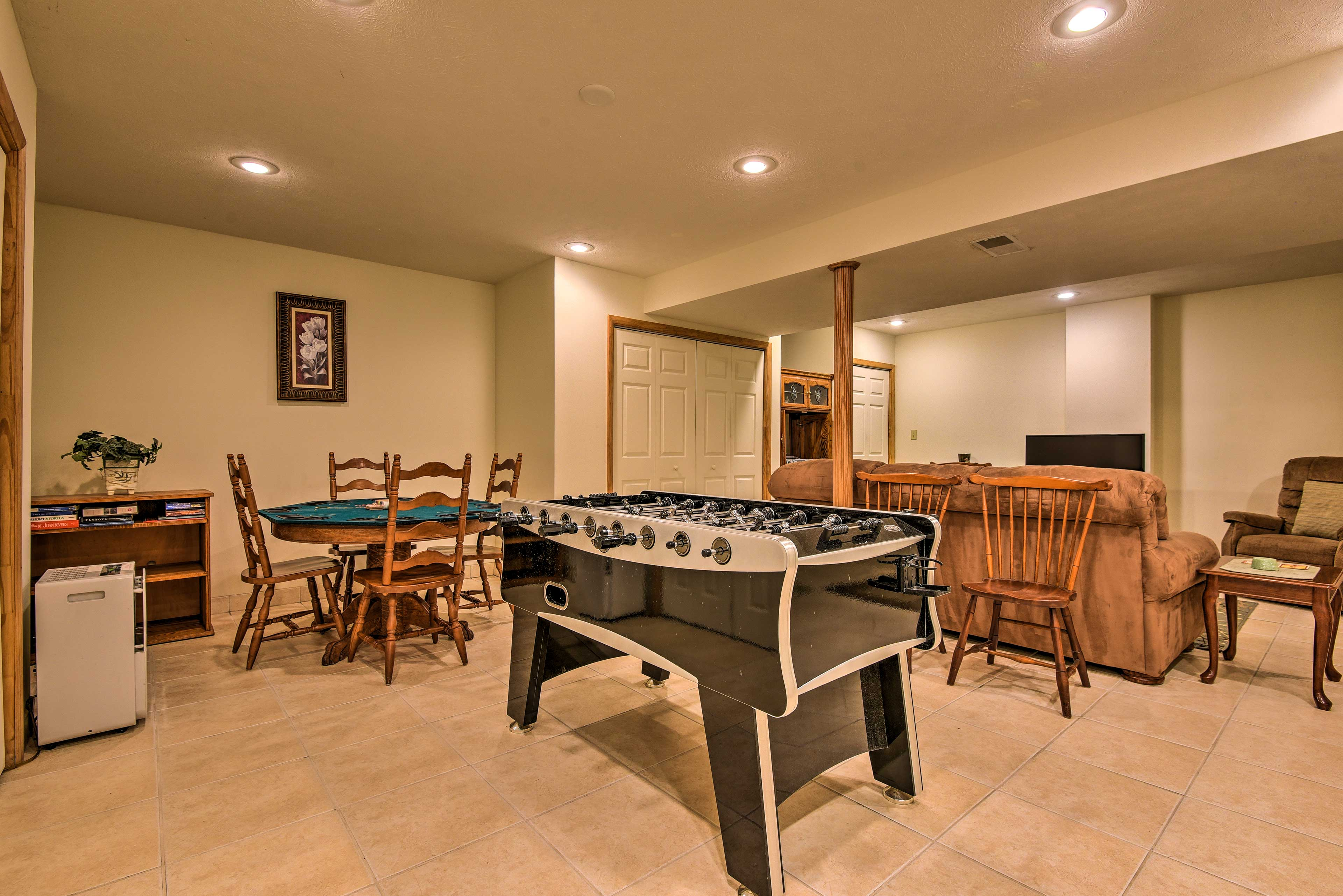 The rec room features a Foosball table!