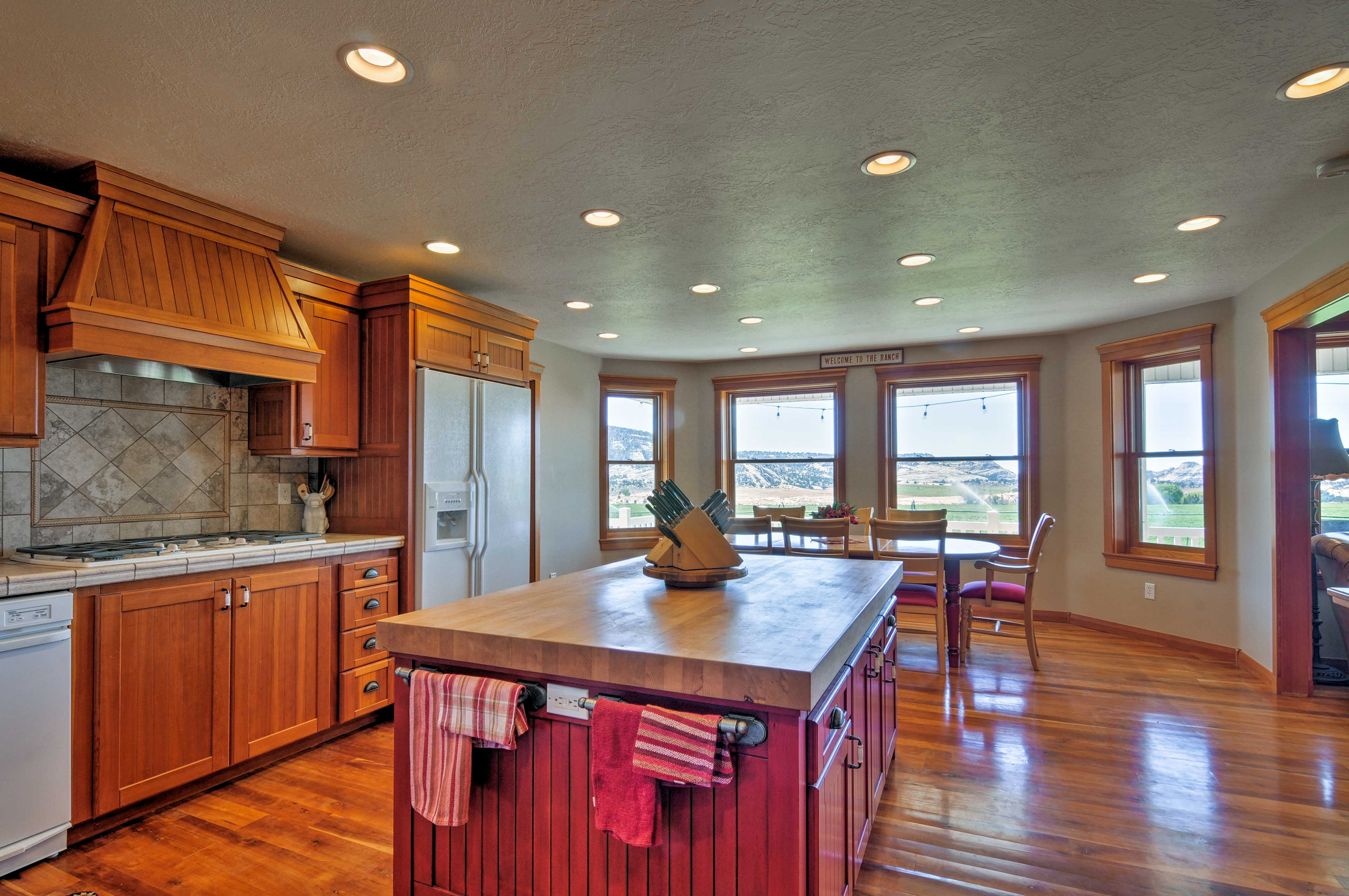 Admire views of the ranch from the kitchen's picture windows.