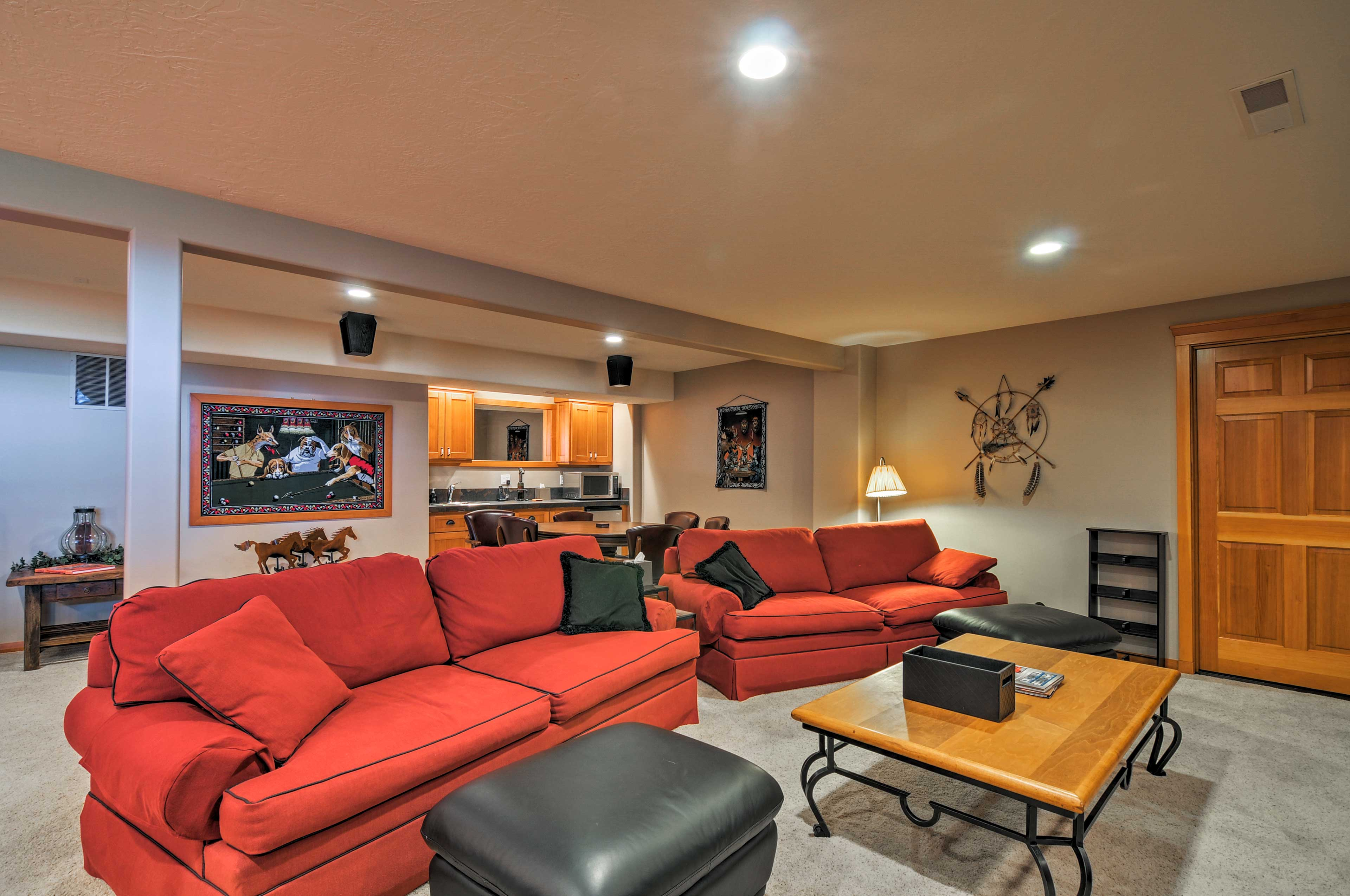 The basement features 2 full sleeper sofas.