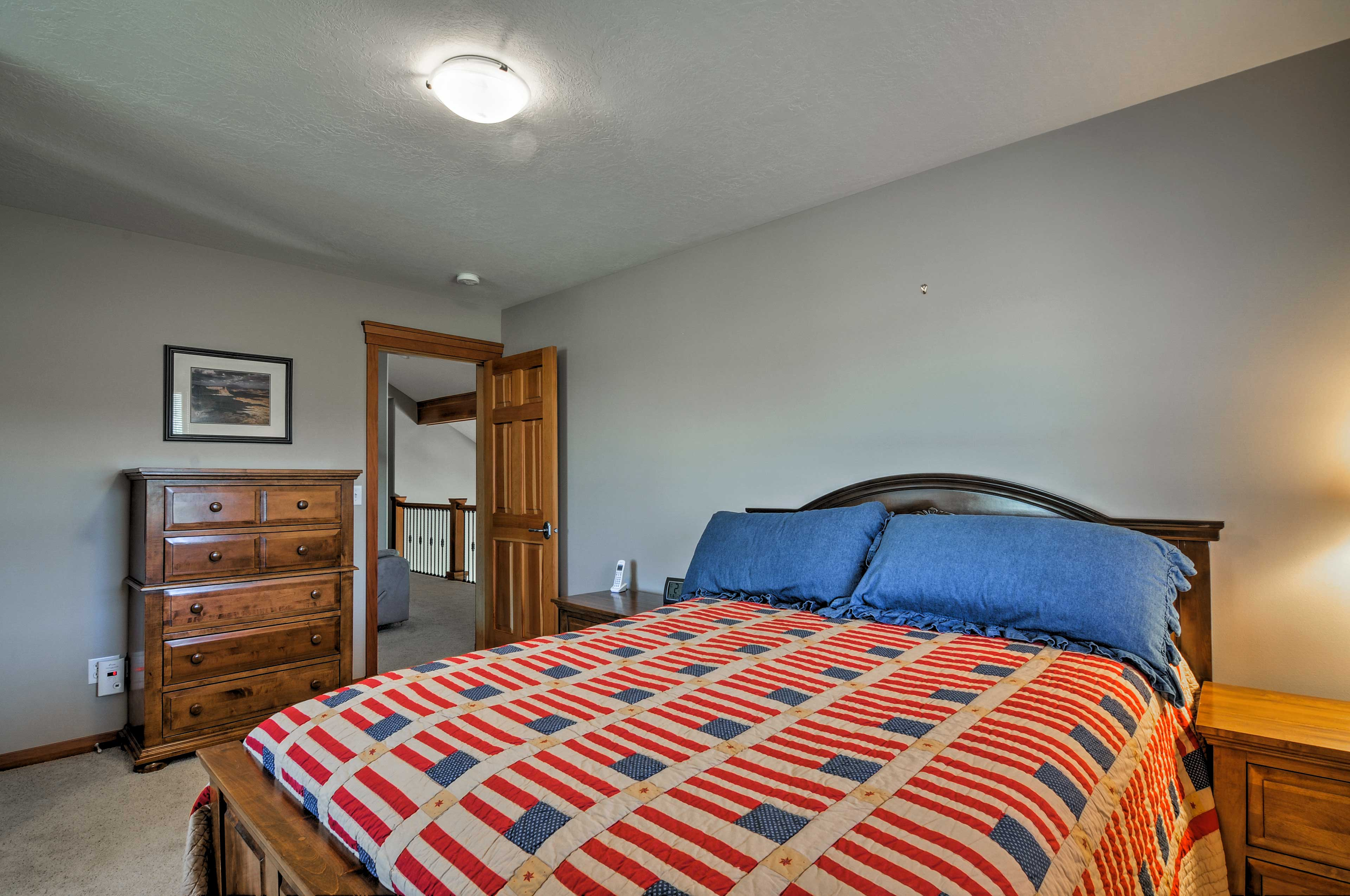 Two more travelers can get comfy in the home's fourth bedroom.
