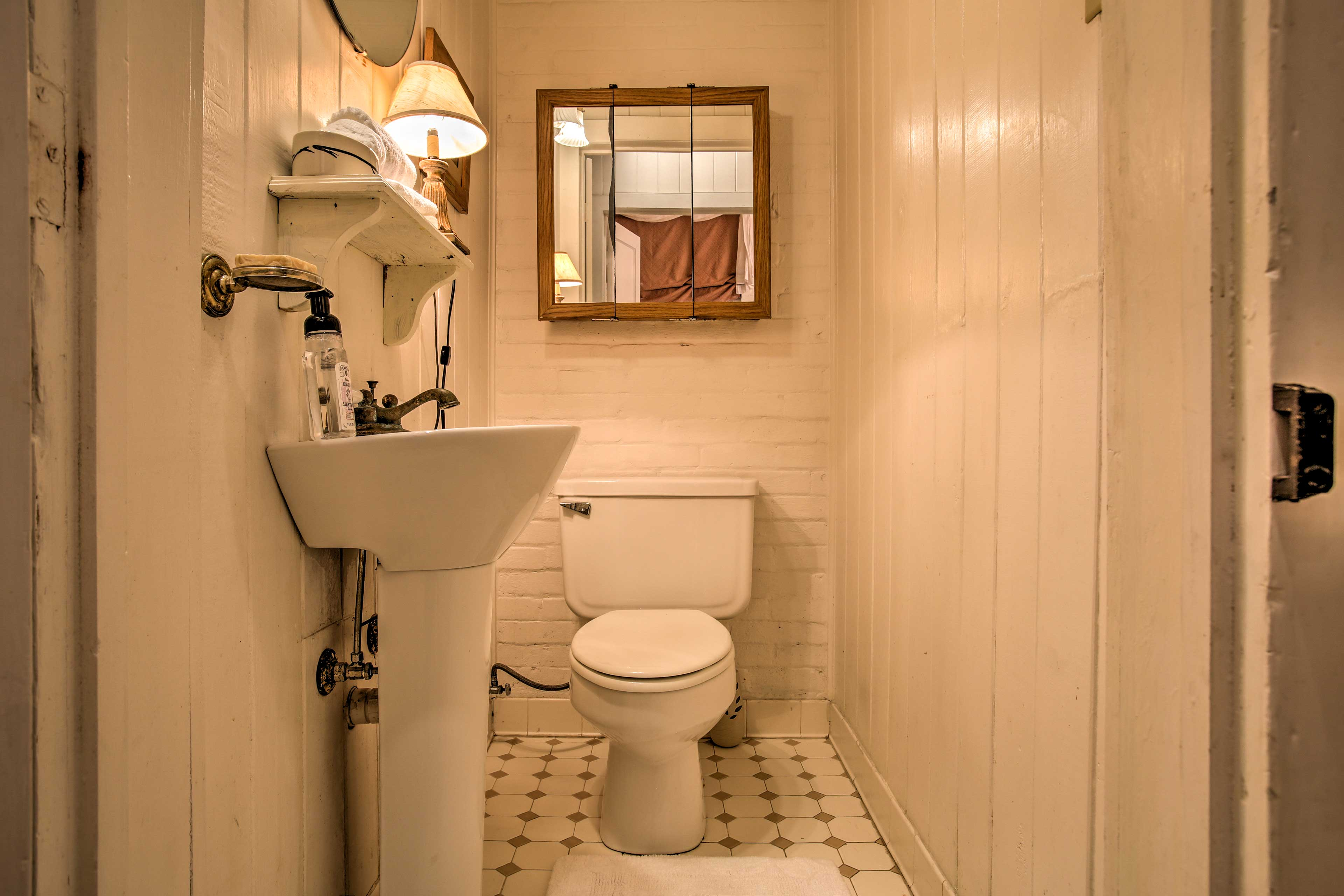 The elegant bathroom is fully equipped.