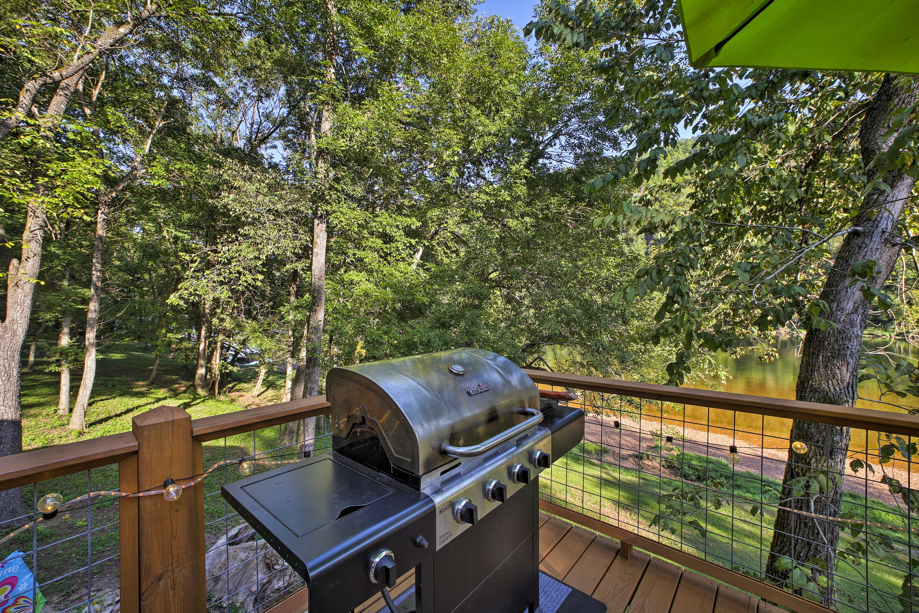Fire up the modern gas grill to enjoy a feast on the deck!