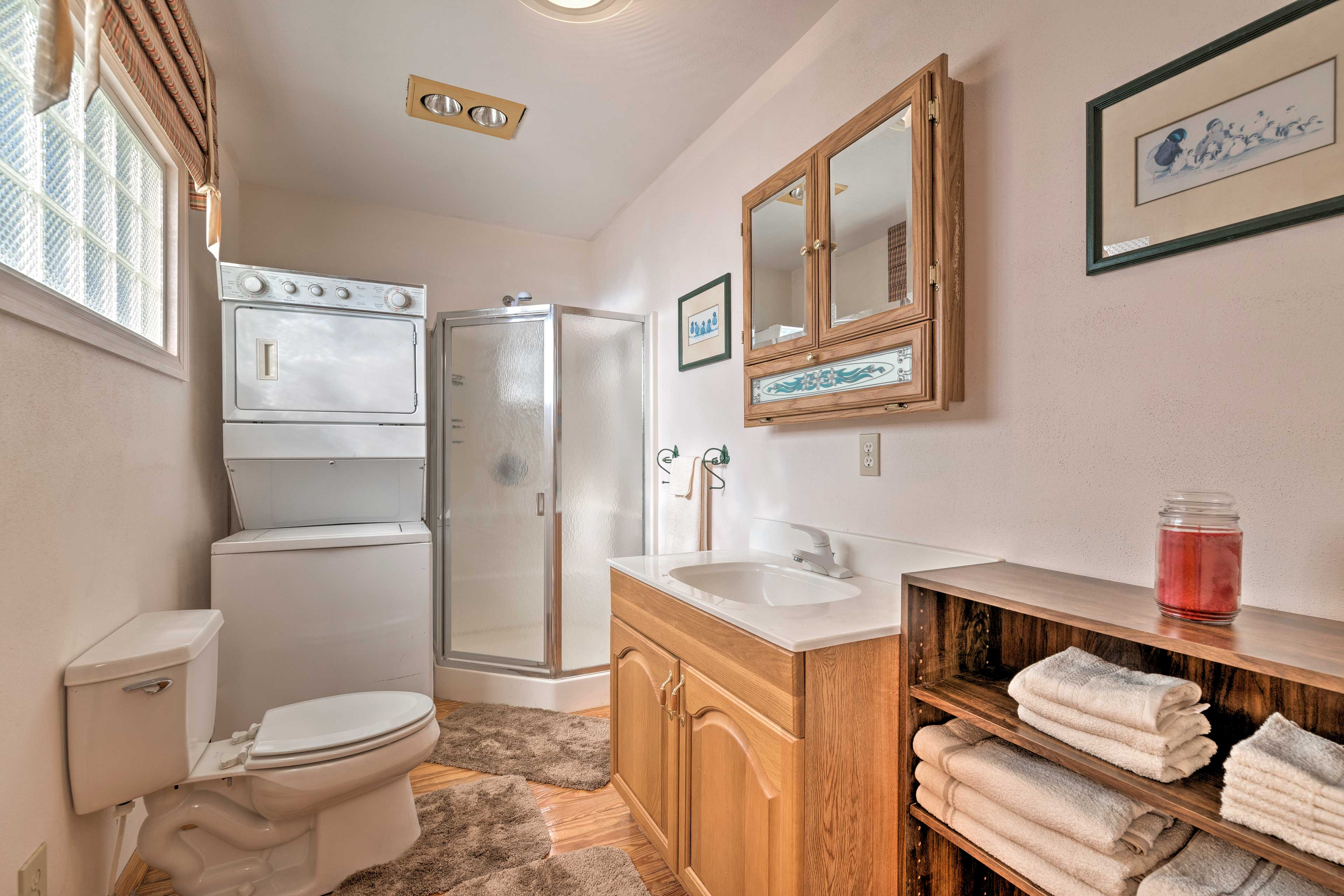 Take a shower in the bathroom and use the provided towels.