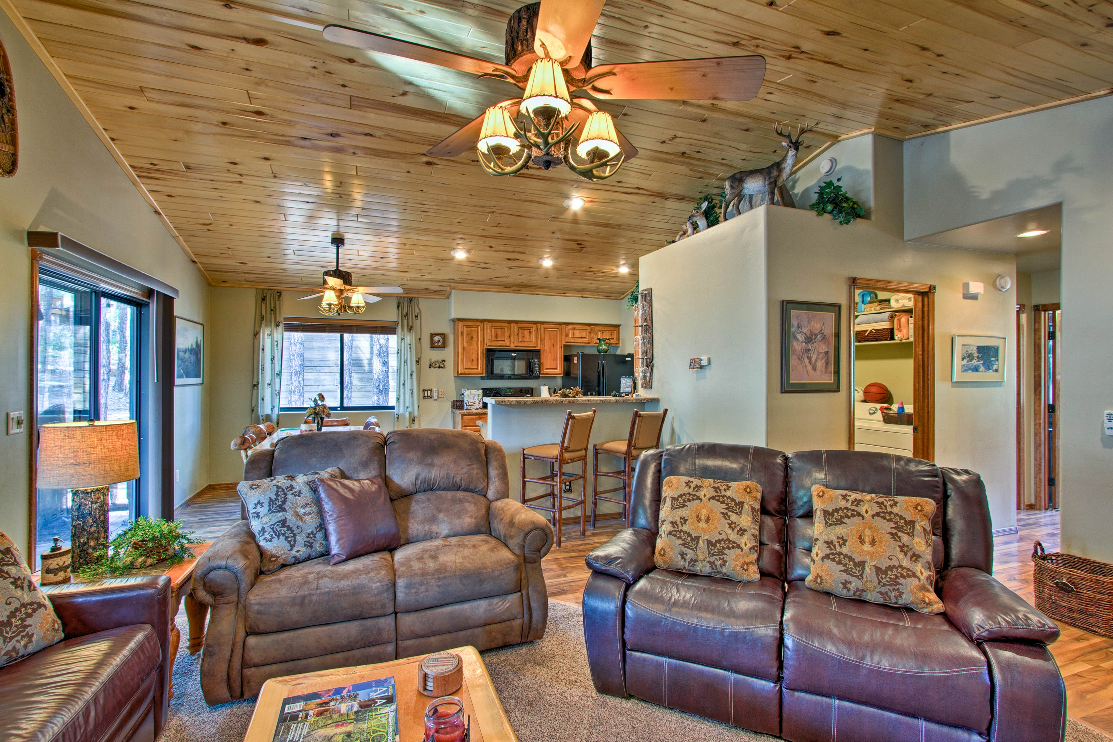 Grab a seat on one of the couches and get comfortable!