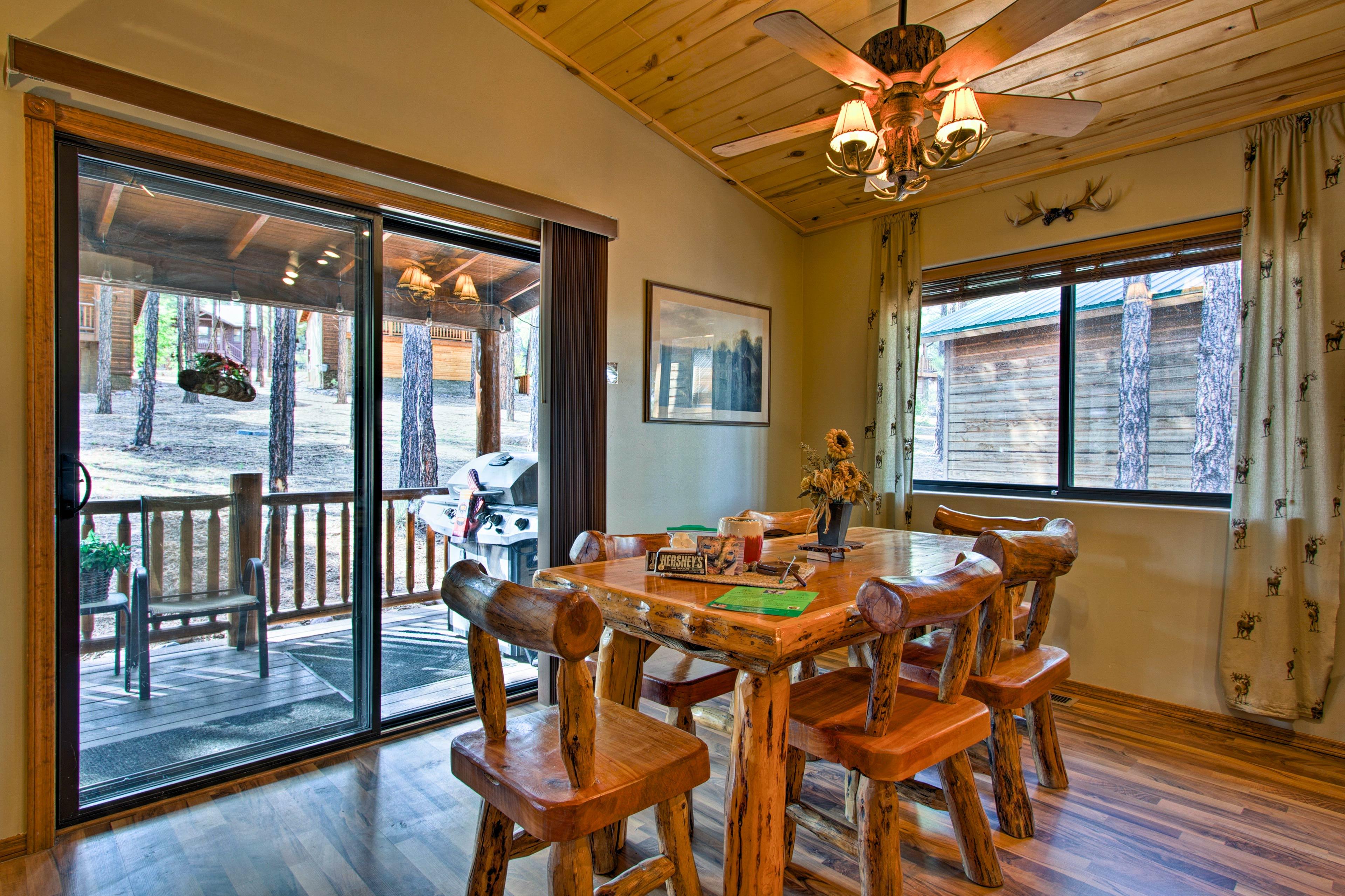 Gather around the kitchen table to enjoy meals.