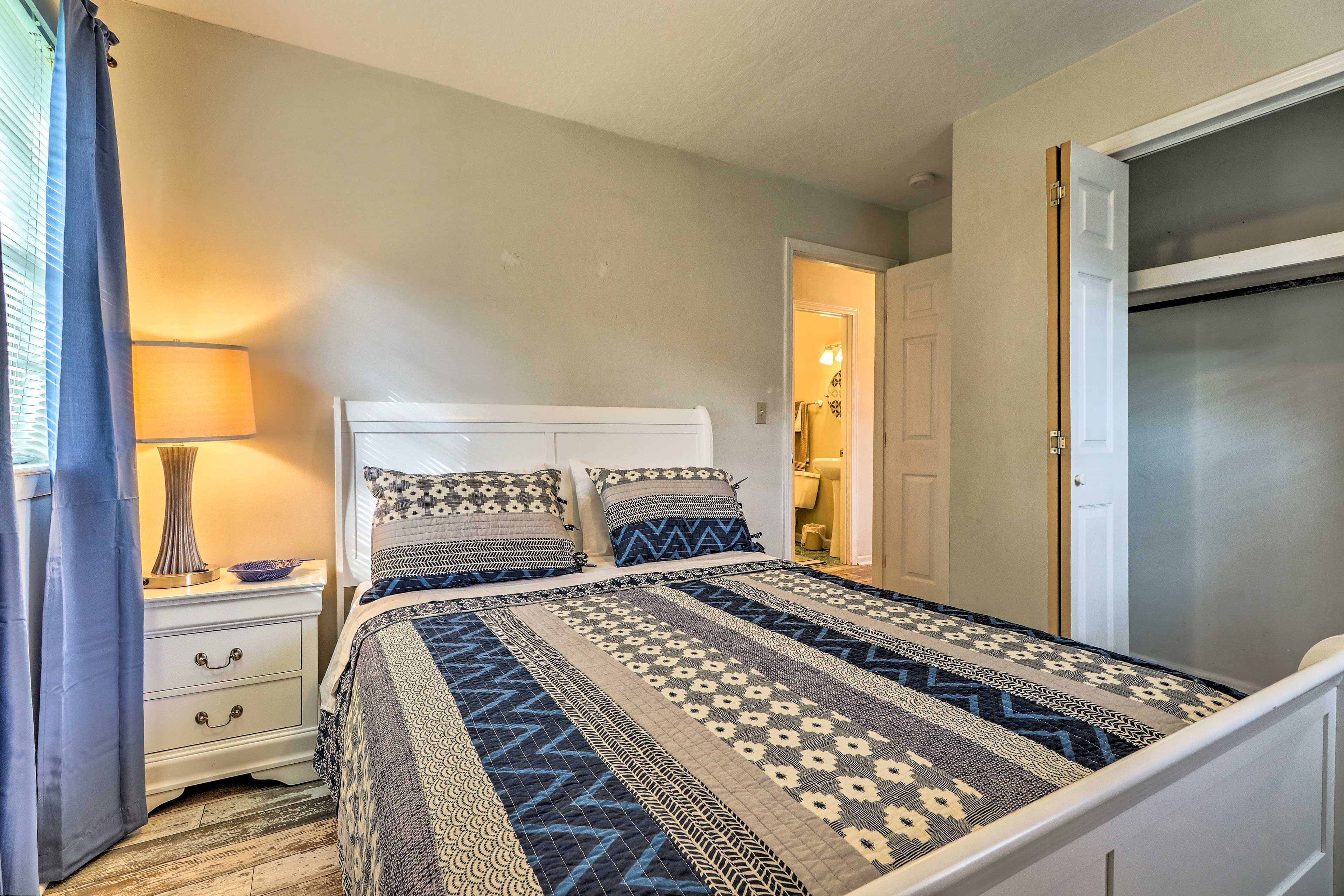 The second bedroom also boasts a queen-sized bed.