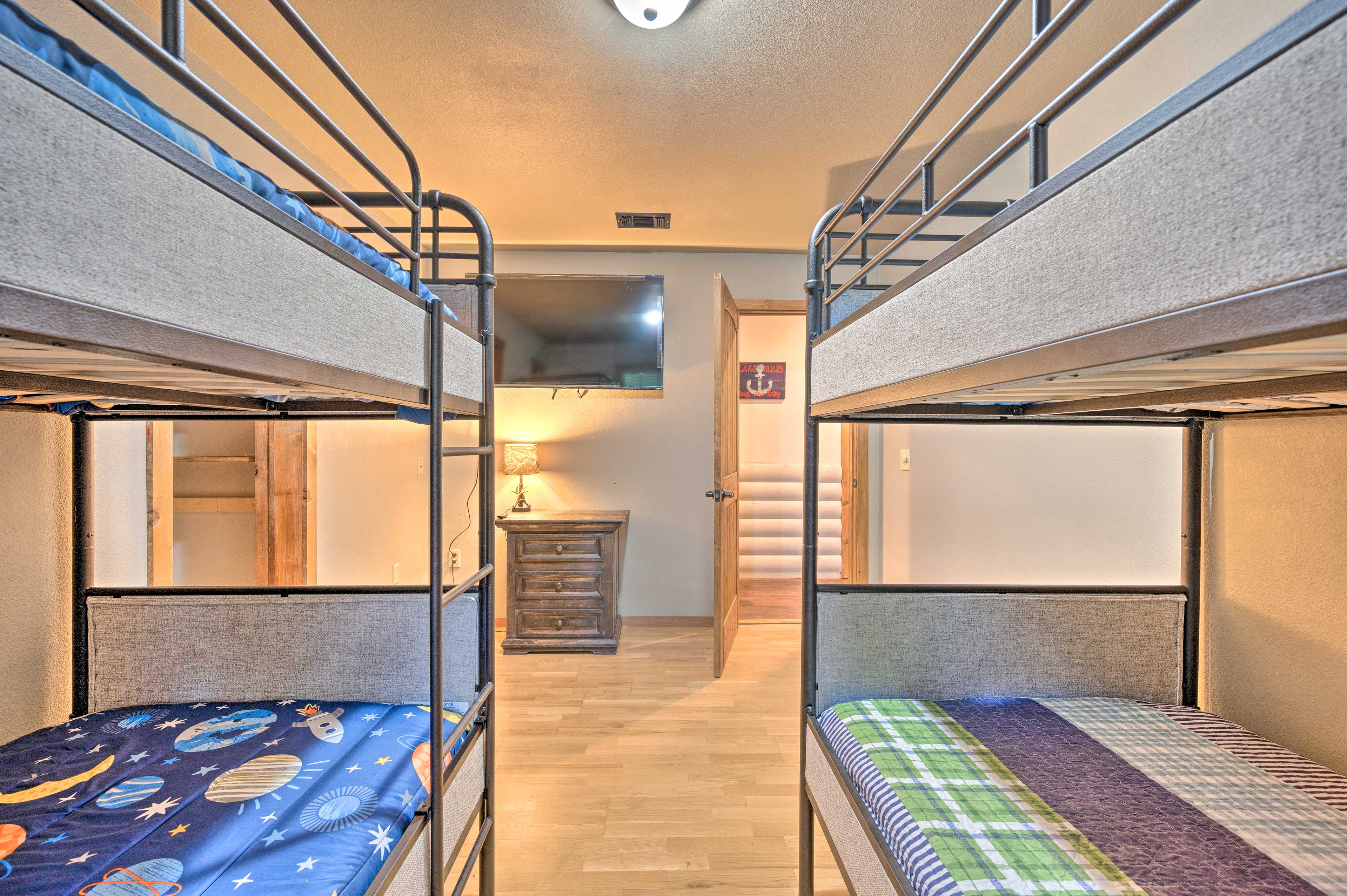 Each room features its own flat-screen TV.