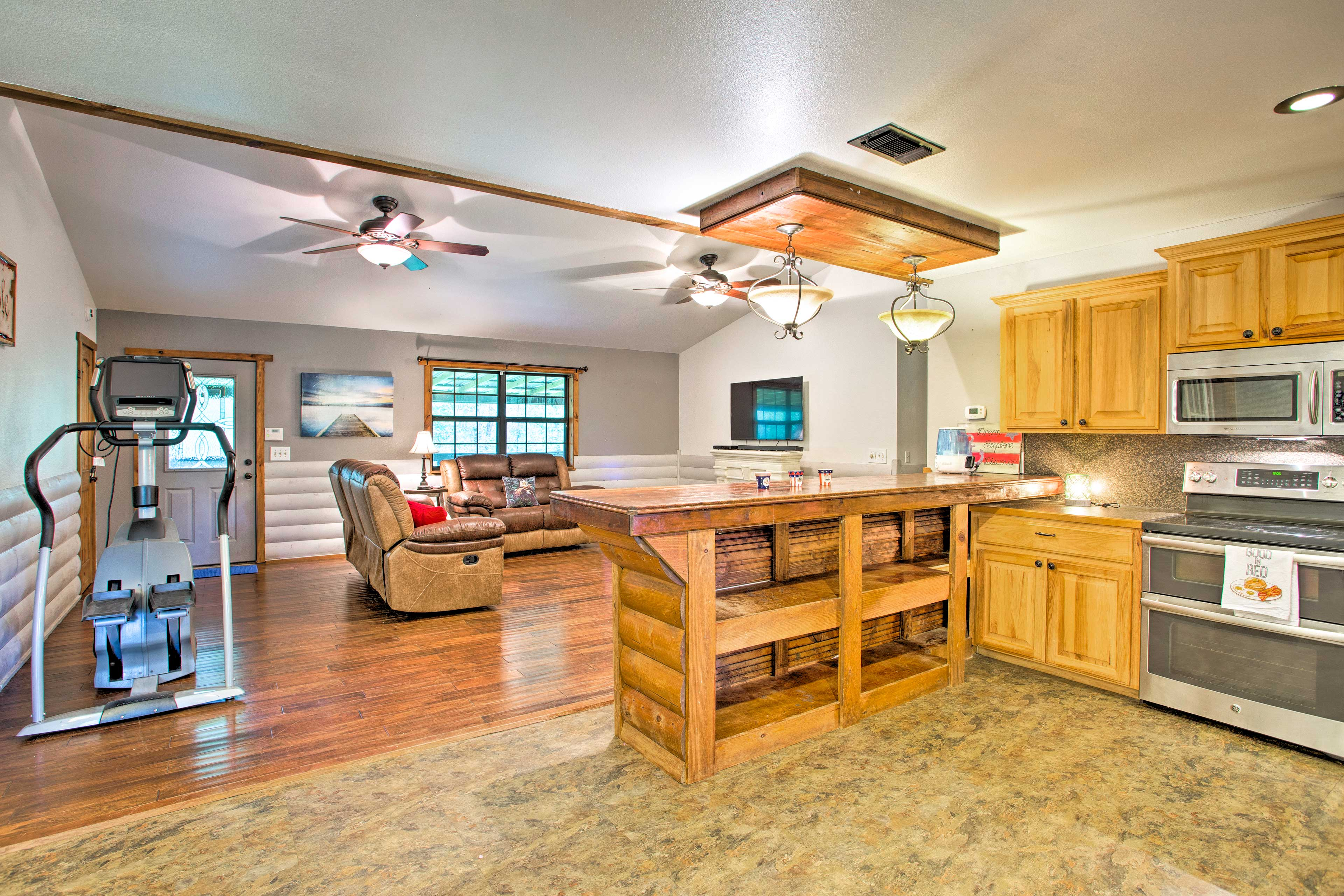 Head into the fully equipped kitchen to whip up a homemade meal!
