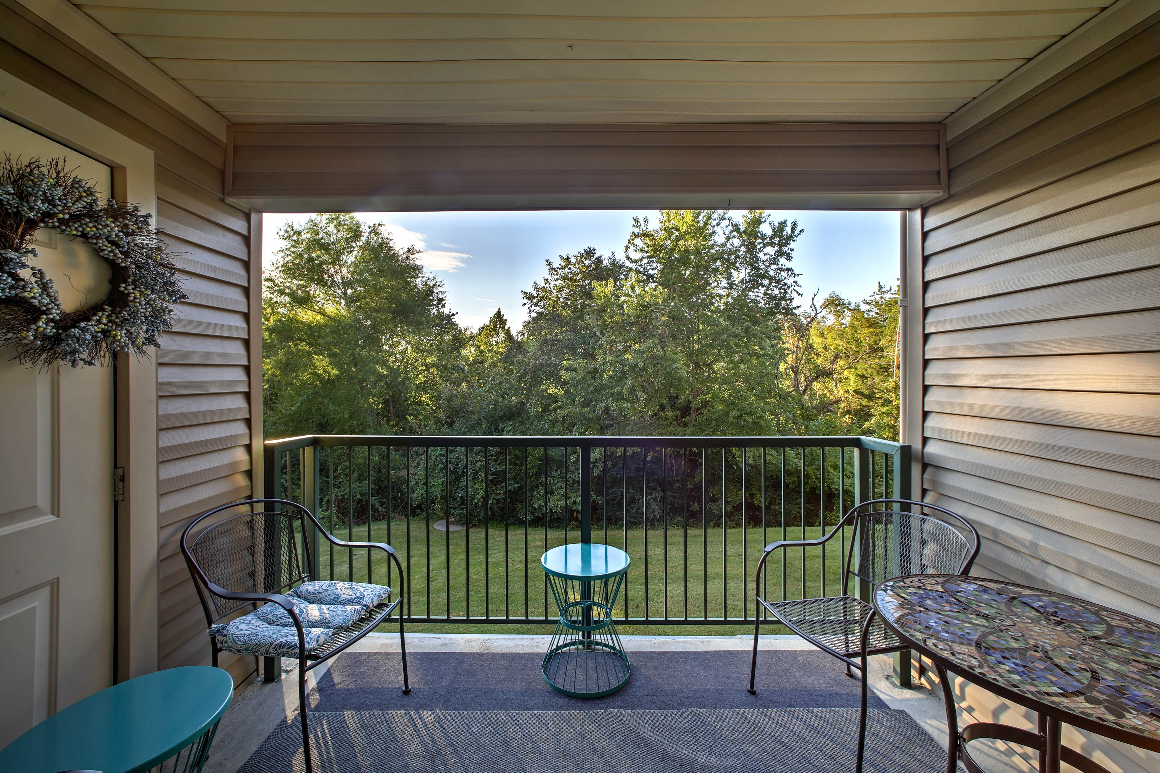 Enjoy the outdoors from your private, fully furnished balcony.