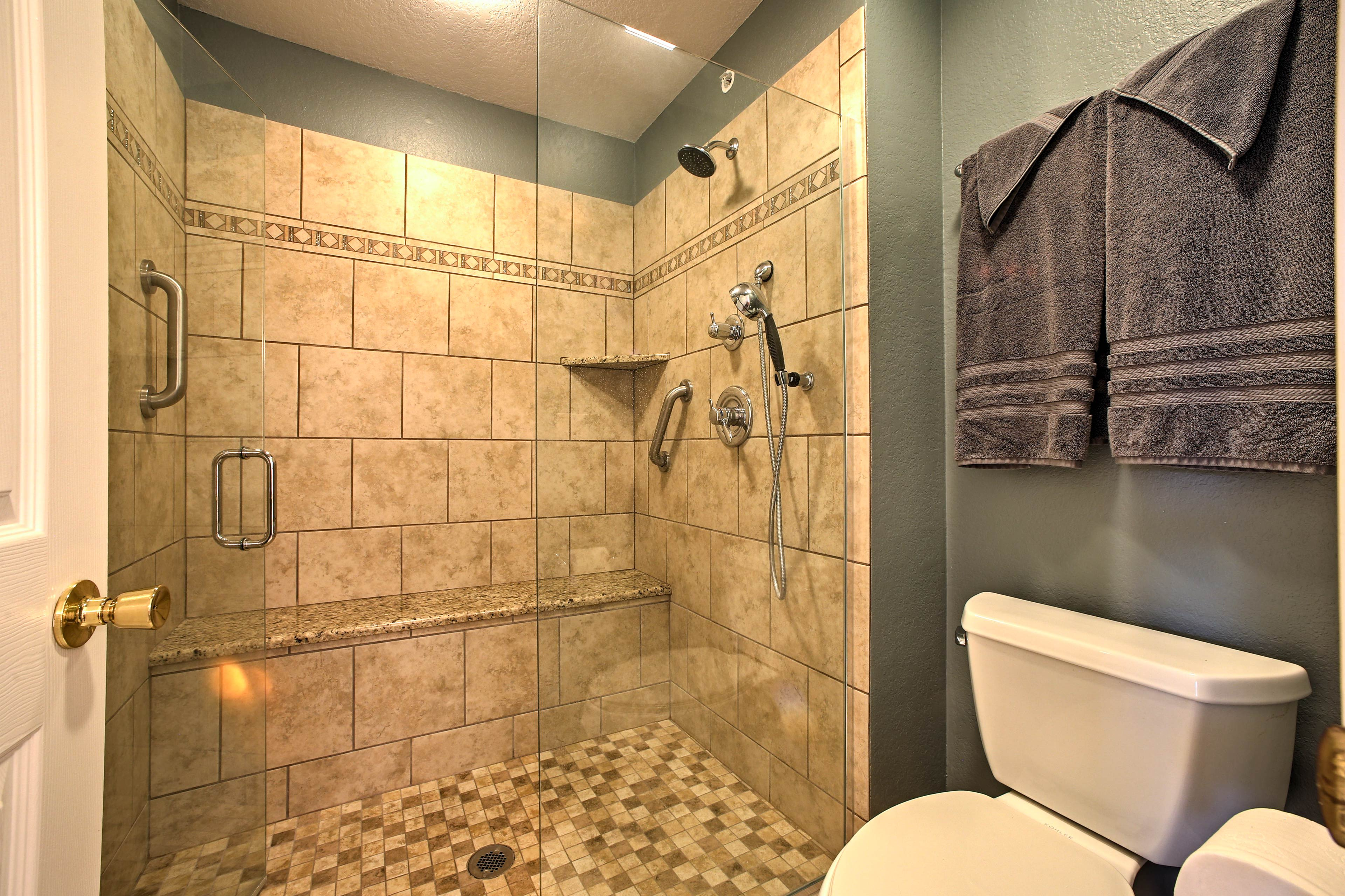 You'll love this oversized, tiled walk-in shower!