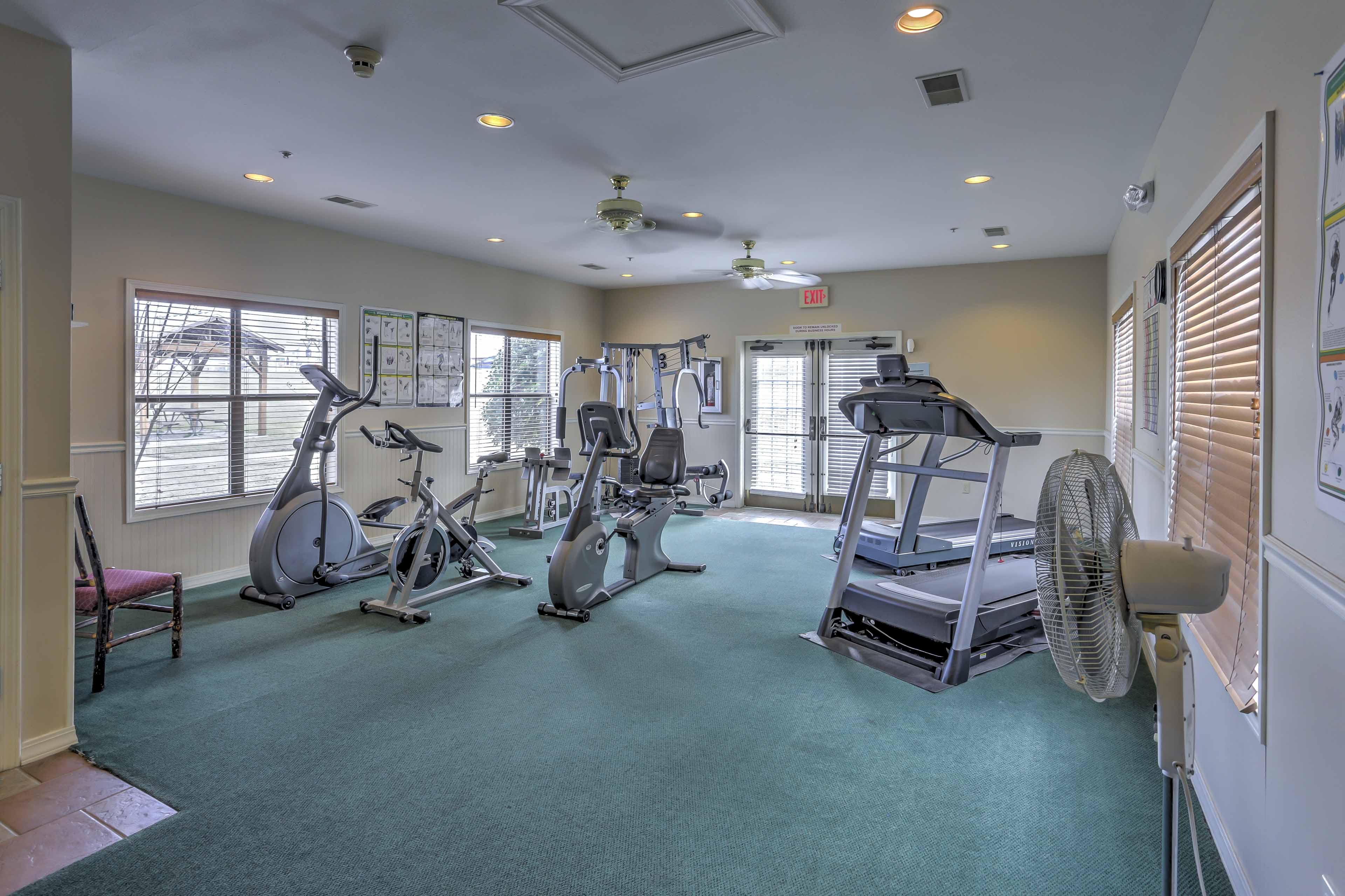 Keep up with your workout routine at the on-site rec center.